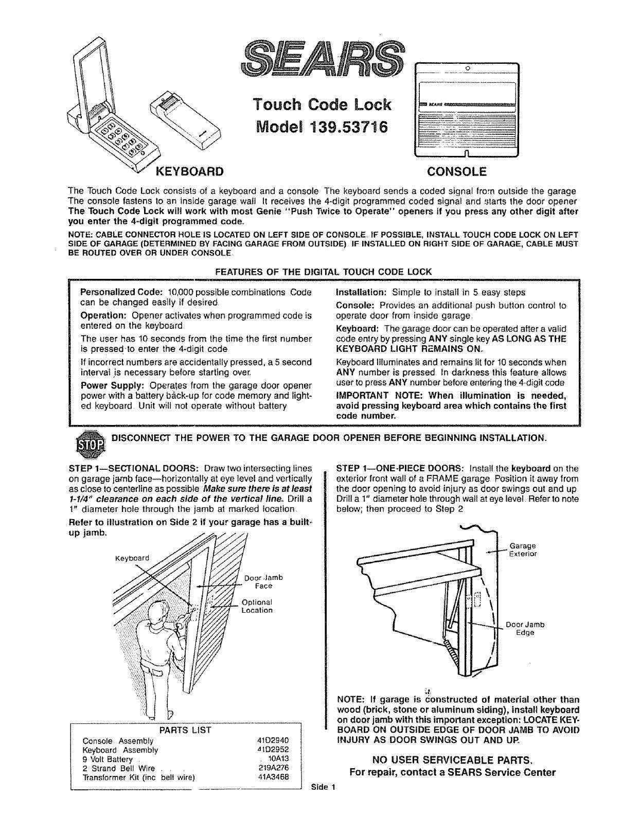 Sears Garage Door Opener 13953716 User Guide Manualsonline
