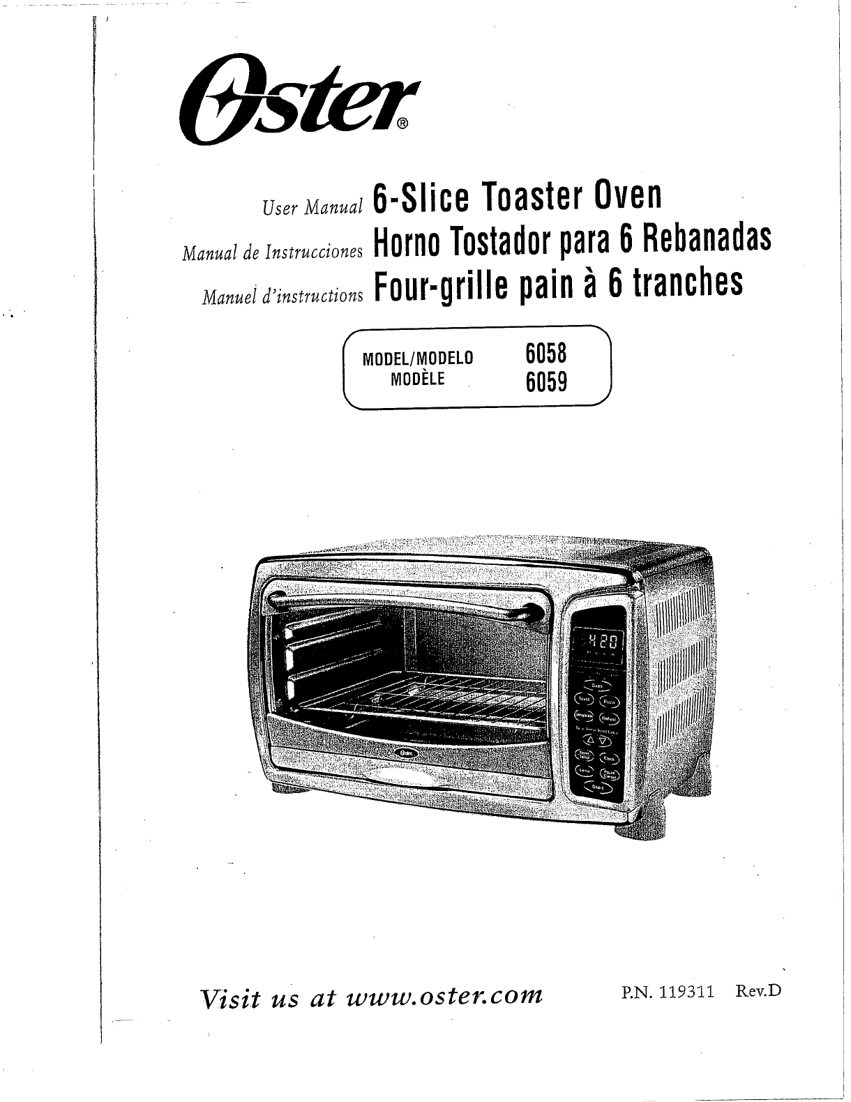 oster toaster 6058 user guide manualsonline com rh kitchen manualsonline com Oster Digital Convection Toaster Oven Oster 6058 Parts