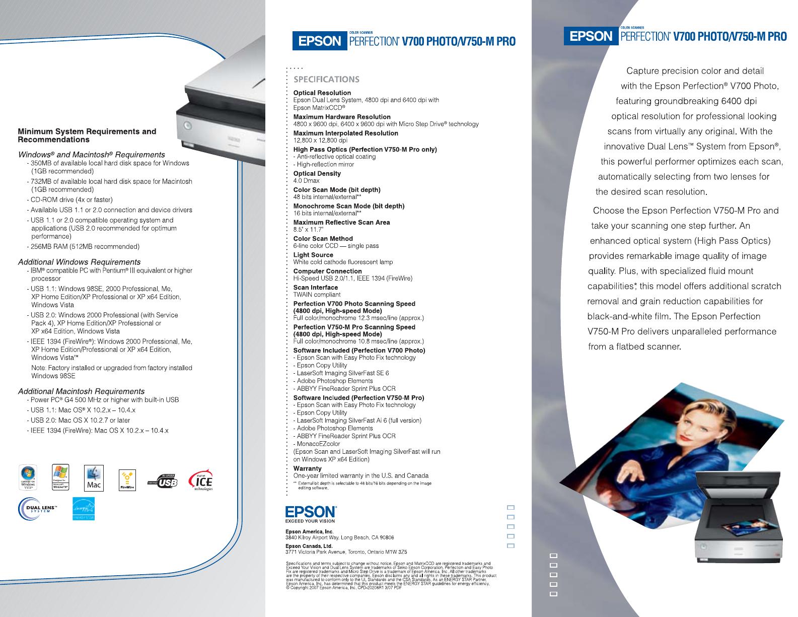 Epson V750-M PRO Scanner User Manual