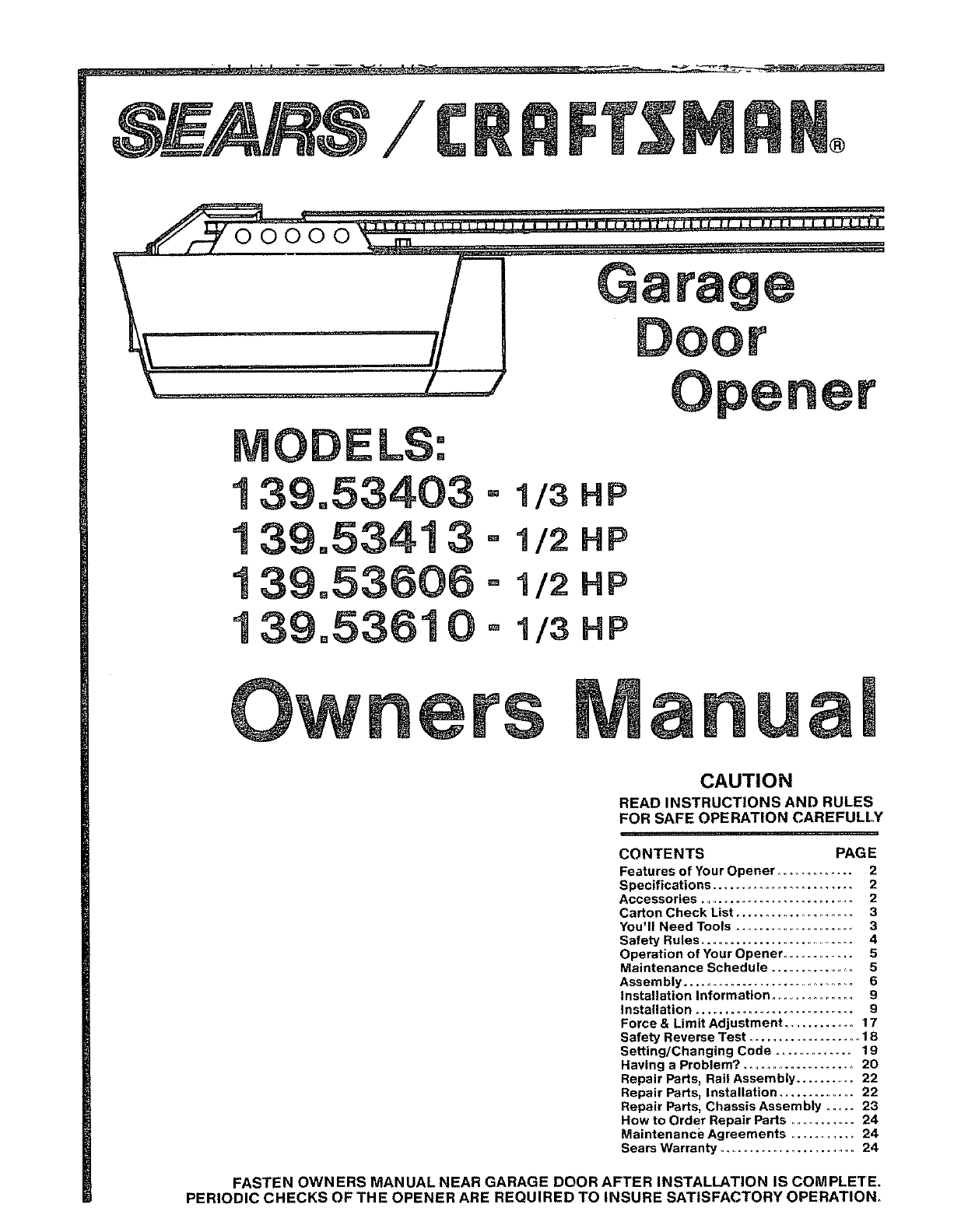 Craftsman Garage Door Opener 139 53403 User Guide