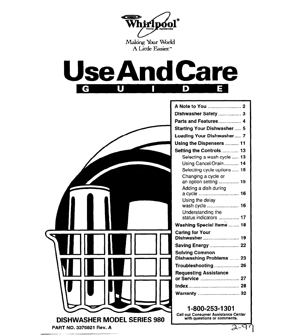 whirlpool dishwasher series 980 user guide