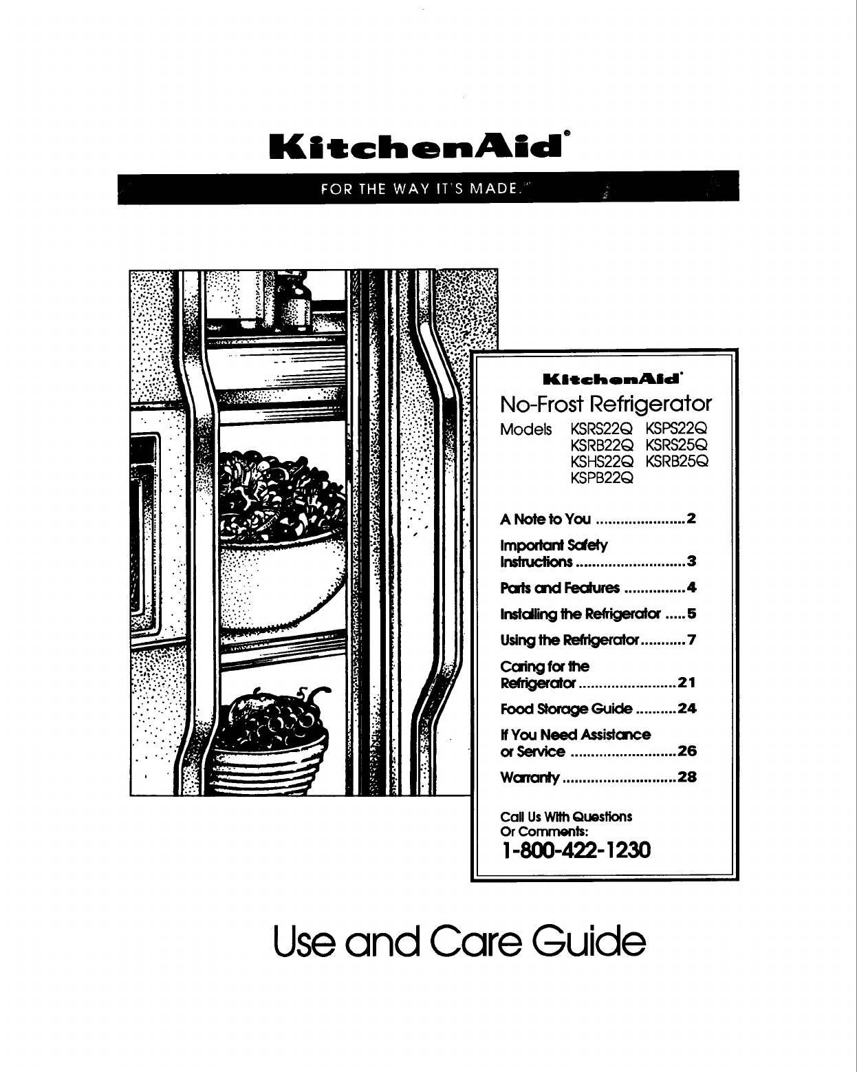 kitchenaid refrigerator ksrs25q user guide manualsonline