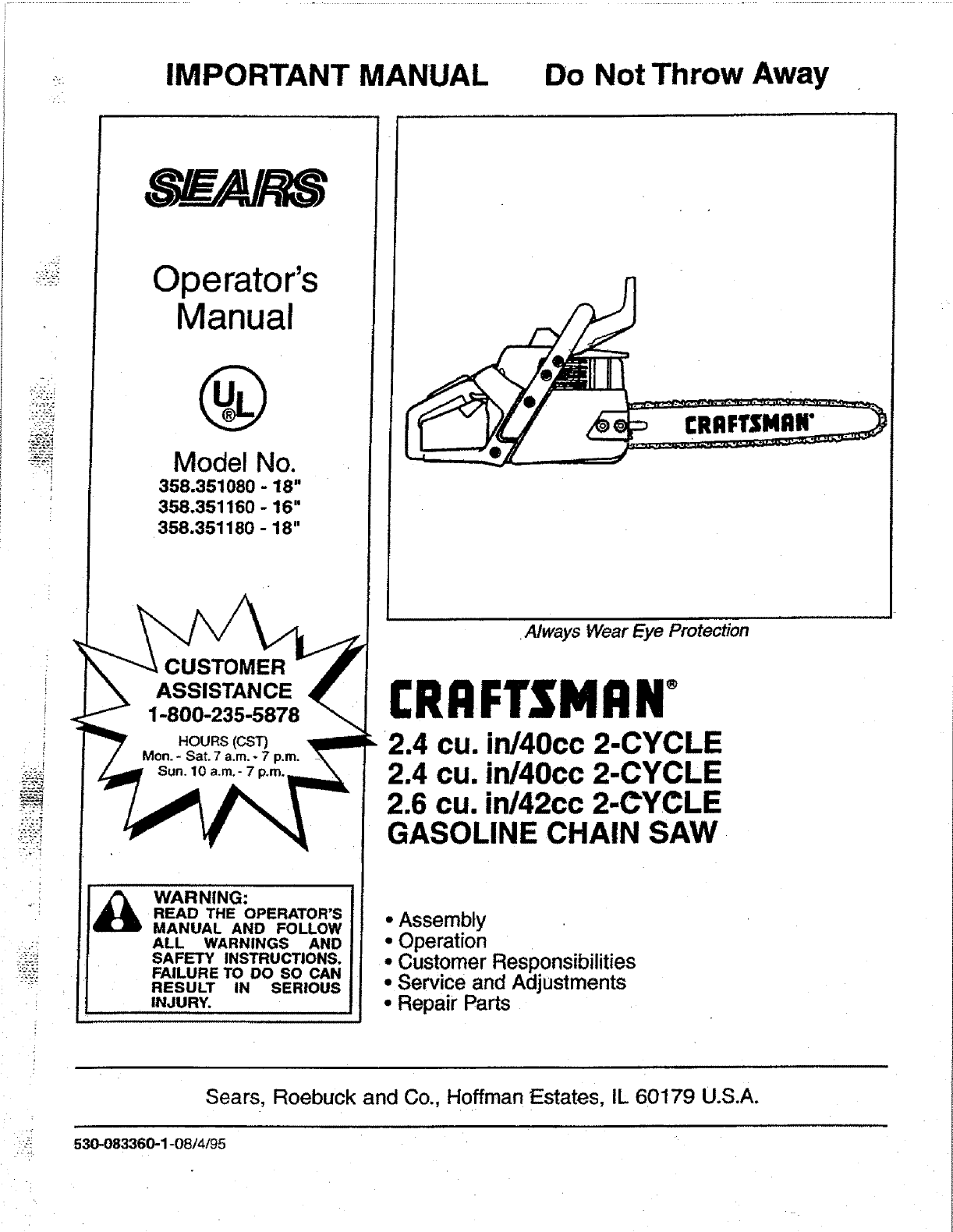 sears chainsaw 358 351160 16 user guide manualsonline com rh lawnandgarden manualsonline com Craftsman 36Cc Chainsaw Parts Diaphragm Craftsman Electric Chainsaw Model 358 Manual