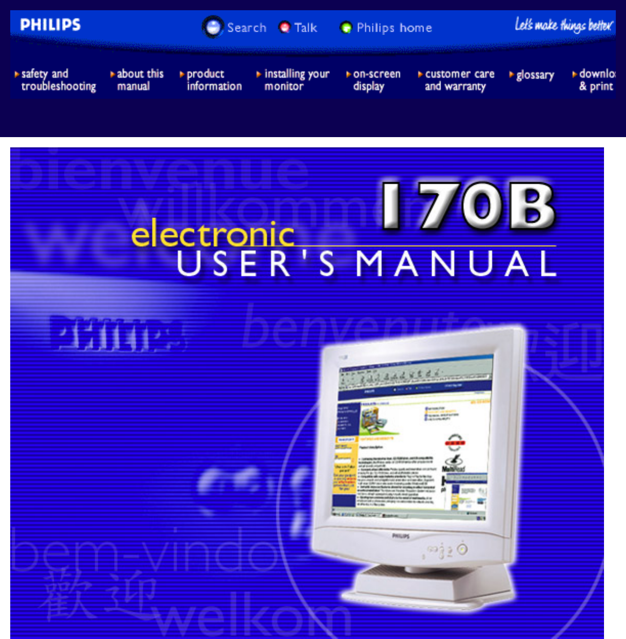 philips computer monitor 170b user guide manualsonline com rh office manualsonline com Philips Computer Monitors Philips Fetal Monitor Supplies