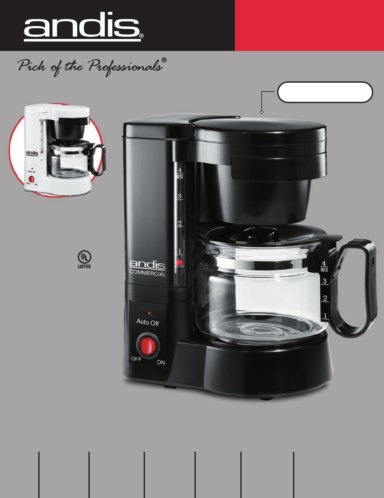 Andis Coffee Maker How To Use : Andis Company Coffeemaker 60030 User Guide ManualsOnline.com