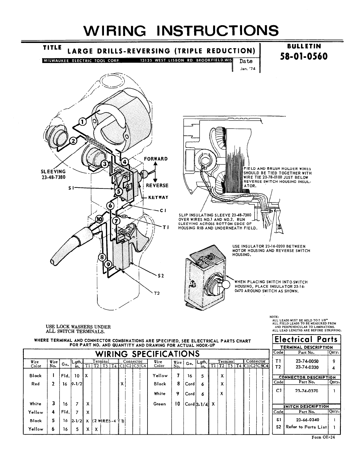 Milwaukee 58-01-0560 Drill User Manual