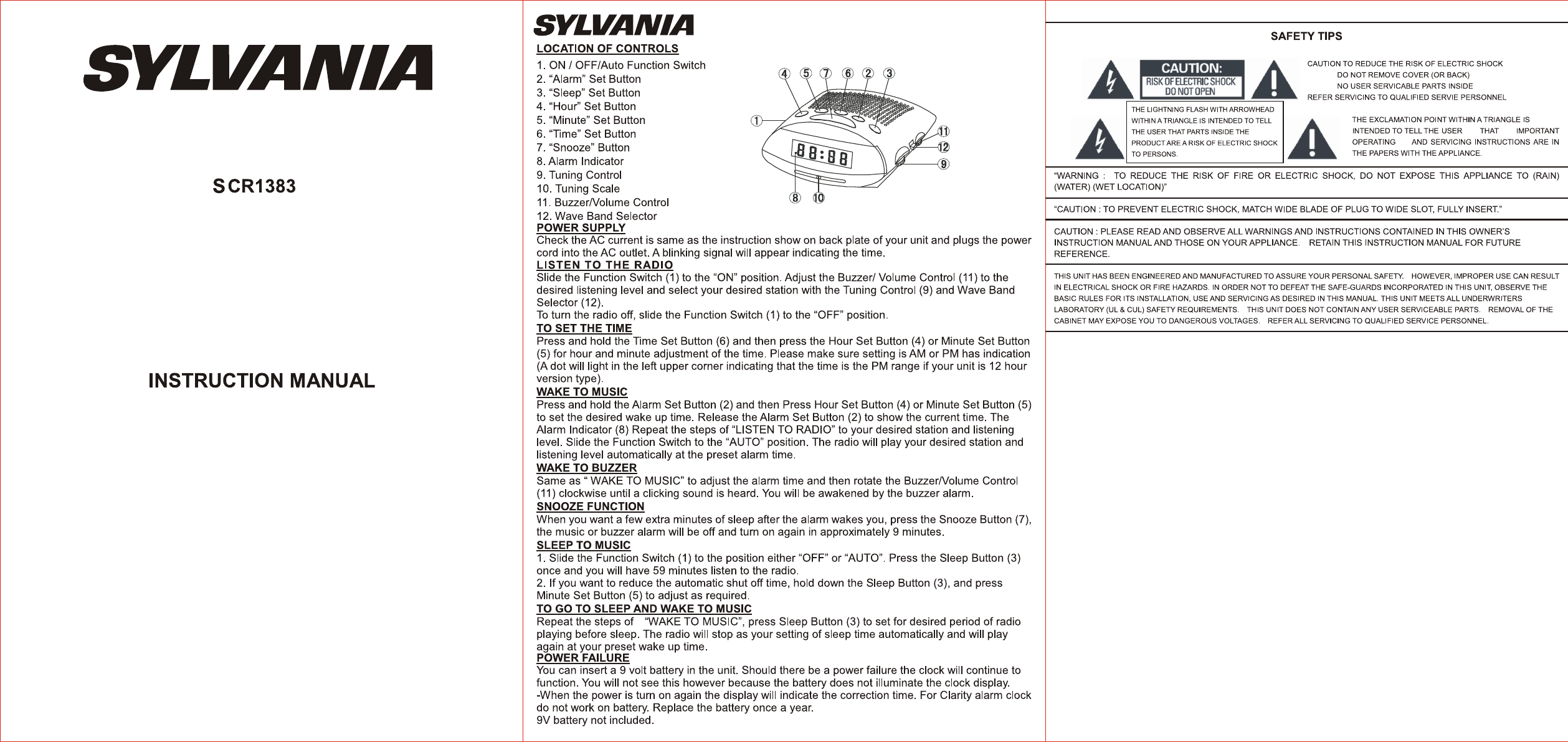 sylvania clock radio scr1383 user guide manualsonline com rh portablemedia manualsonline com sylvania user manuals for sdvd 1096 sylvania portable dvd player user manual sdvd8791
