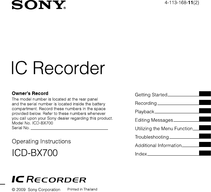 sony mp3 player icd bx700 user guide manualsonline com rh homeappliance manualsonline com sony ic recorder icd-bx700 instruction manual Sony IC Recorder Manual PX820