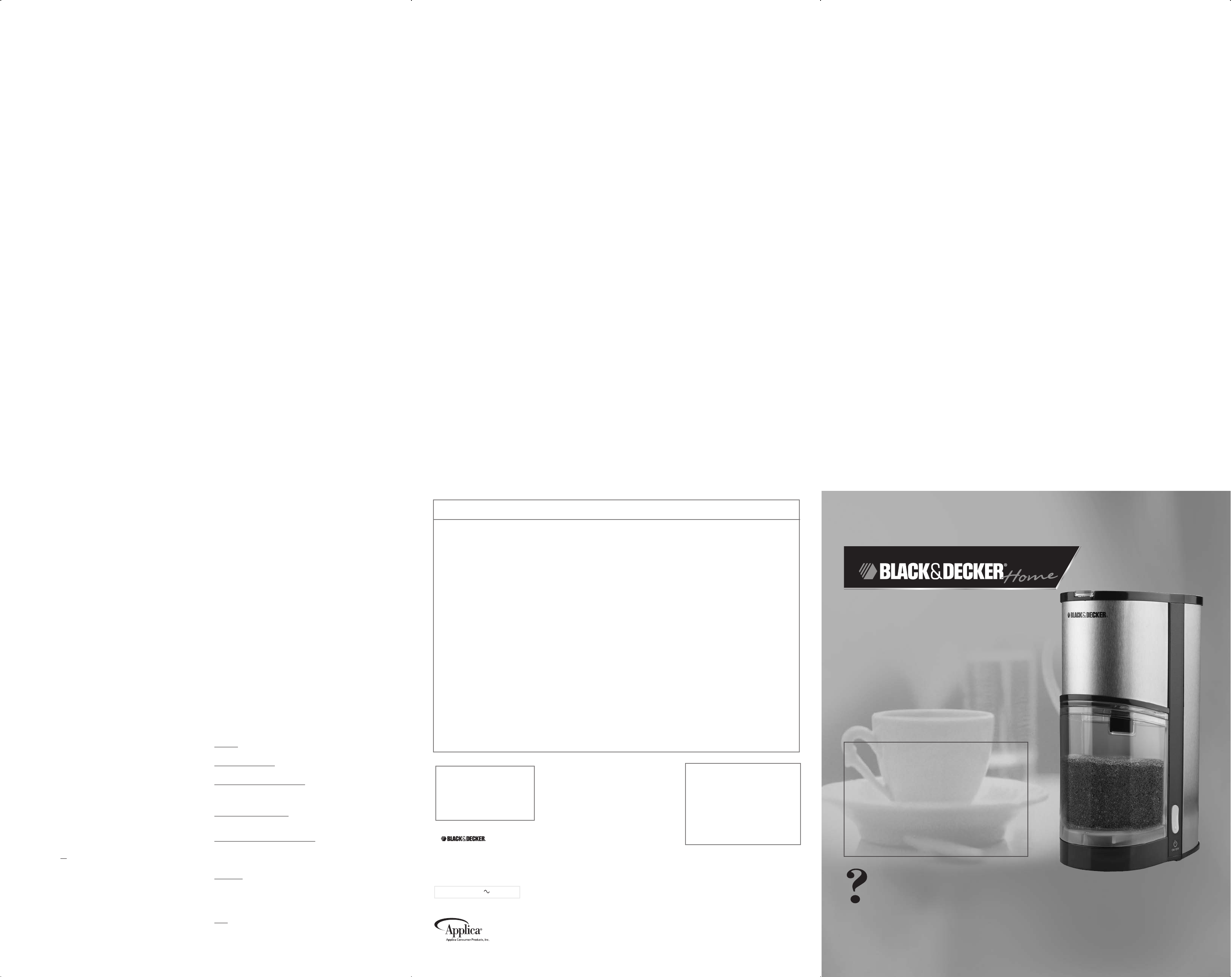 Black And Decker Coffee Maker Cleaning Instructions : Black & Decker Coffee Grinder CBM200S User Guide ManualsOnline.com
