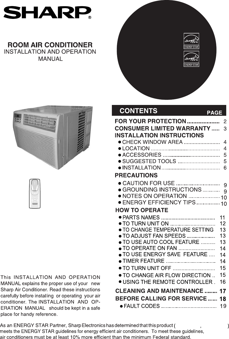 sharp air conditioner 66129902992 user guide