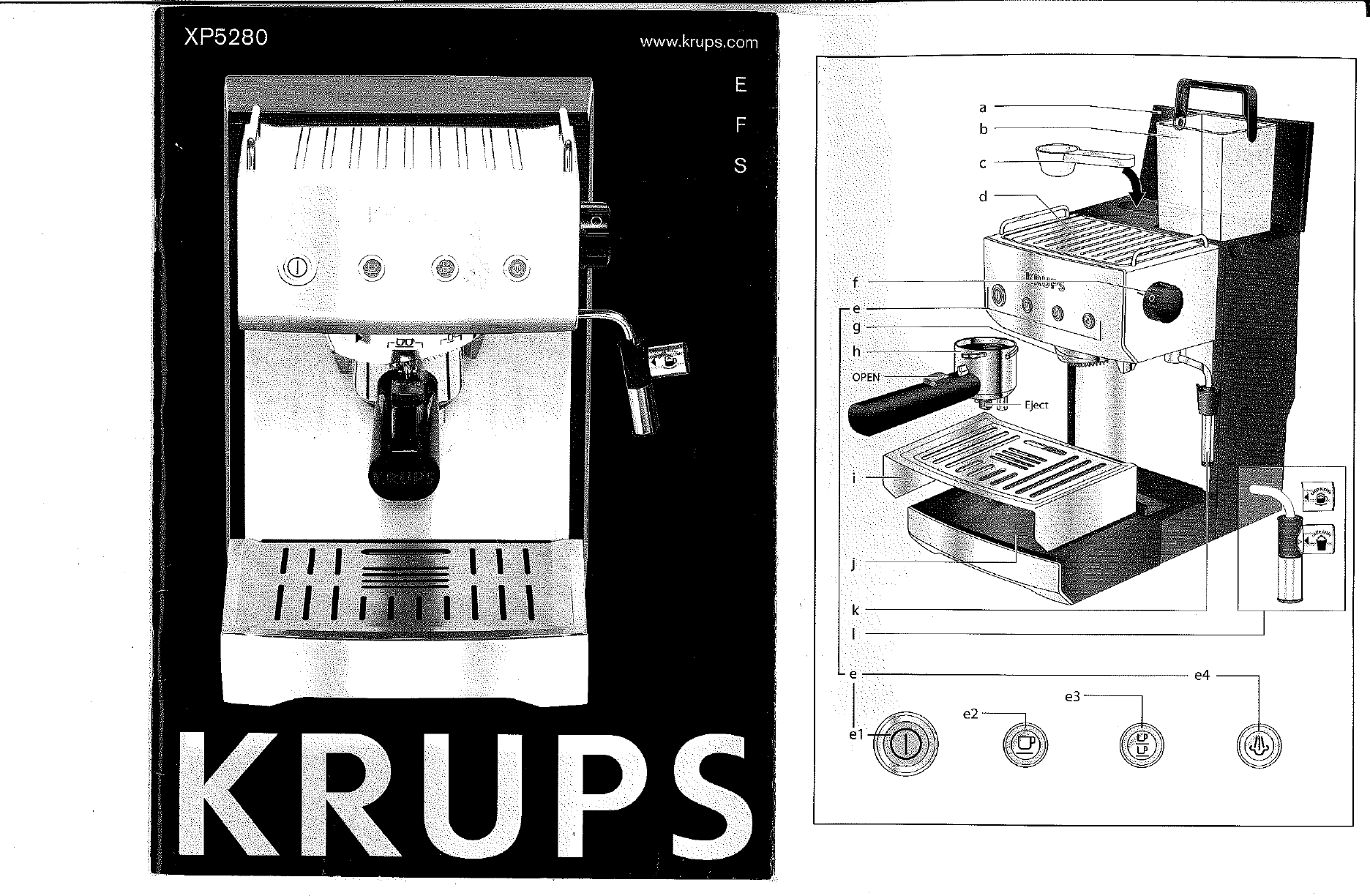 krups coffeemaker xp5280 user guide manualsonline com rh kitchen manualsonline com krups ea8298 user guide krups 871 user guide