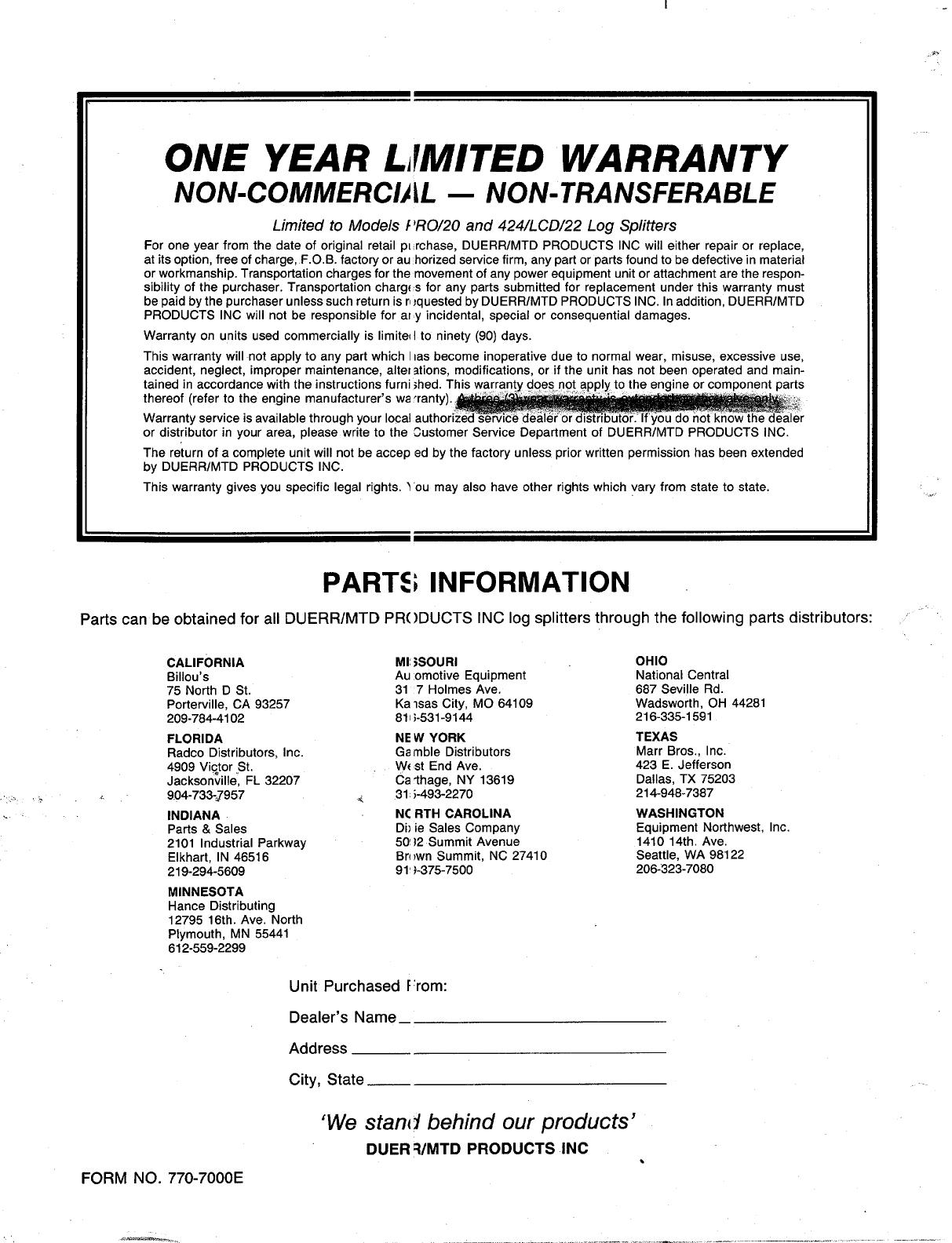 Page 20 of MTD Log Splitter 240-623-003 User Guide