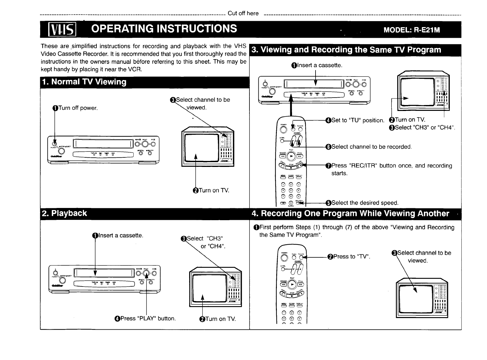 page 41 of goldstar vcr r e21m user guide manualsonline com rh tv manualsonline com Quasar VCR Gold Star VCR Remote