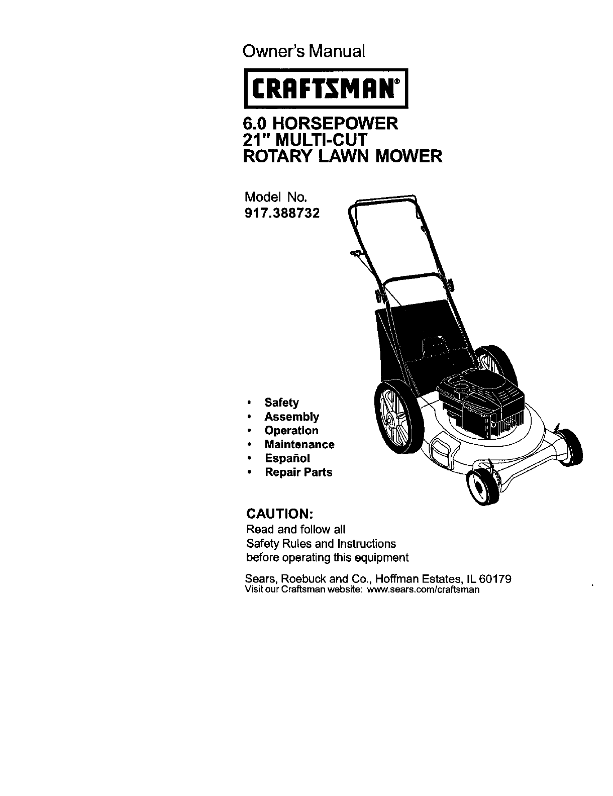 craftsman lawn mower 917 388732 user guide manualsonline com