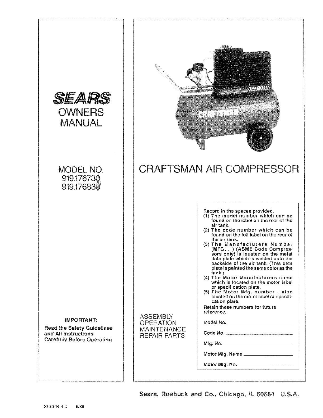 Craftsman Air Compressor 919176730 User Guide ManualsOnlinecom