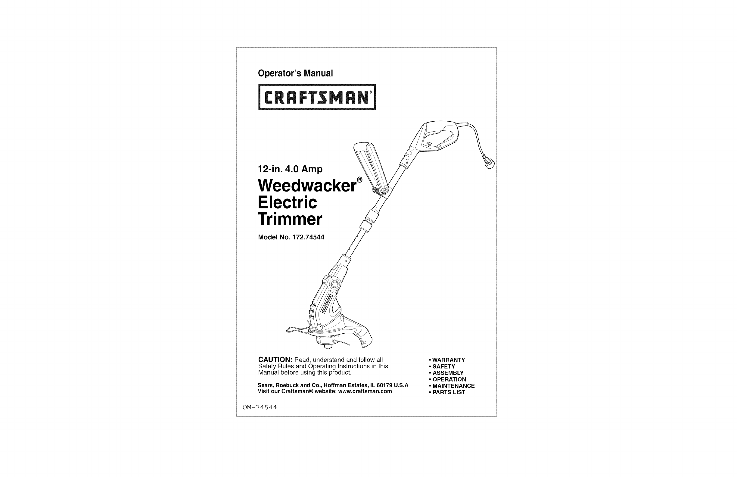 craftsman trimmer 172 74544 user guide manualsonline com rh lawnandgarden manualsonline com Craftsman Gas Trimmer craftsman trimmer owners manual