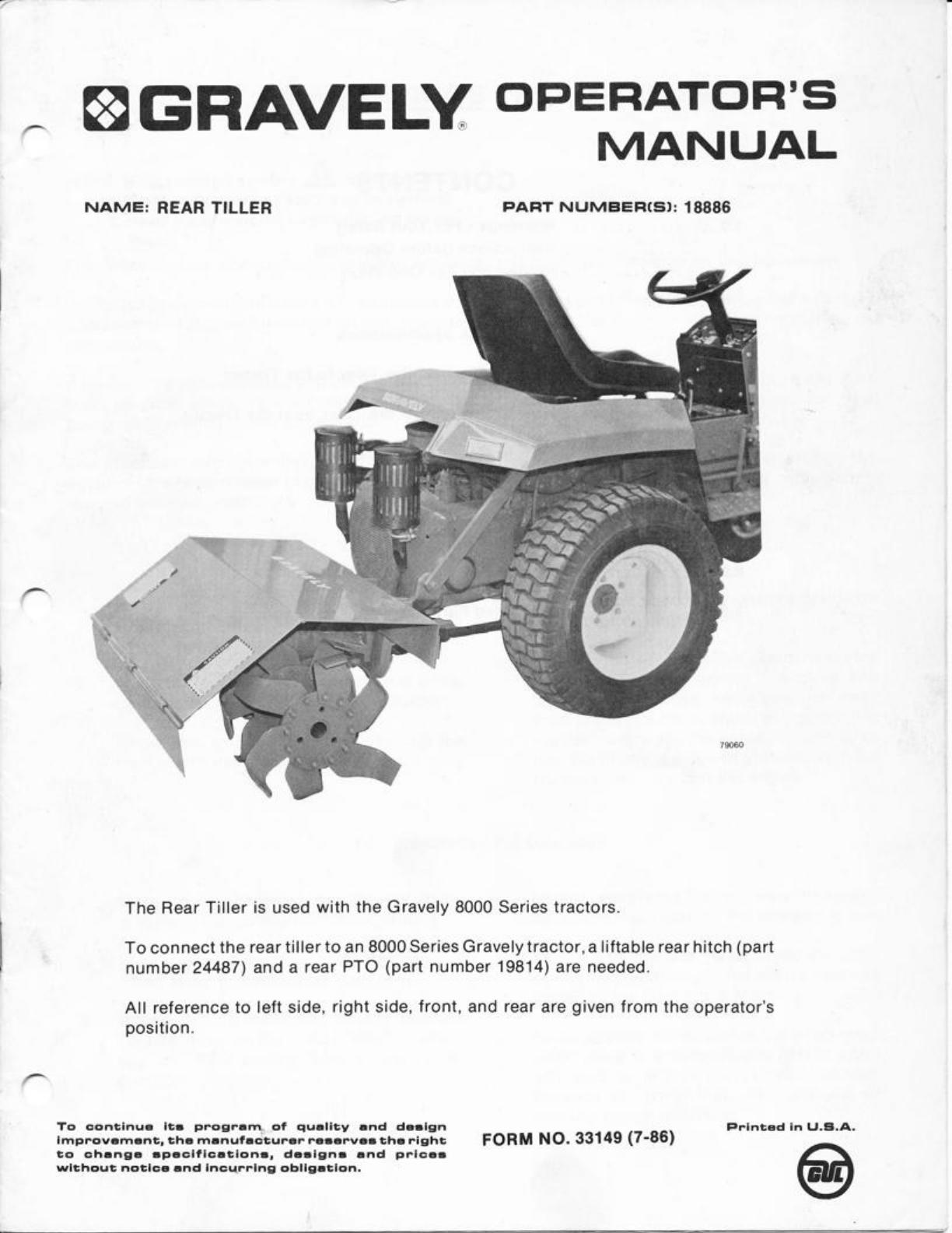 gravely tiller 8000 user guide manualsonline com rh lawnandgarden manualsonline com gravely tractor repair manual gravely tractor manuals service repair owners