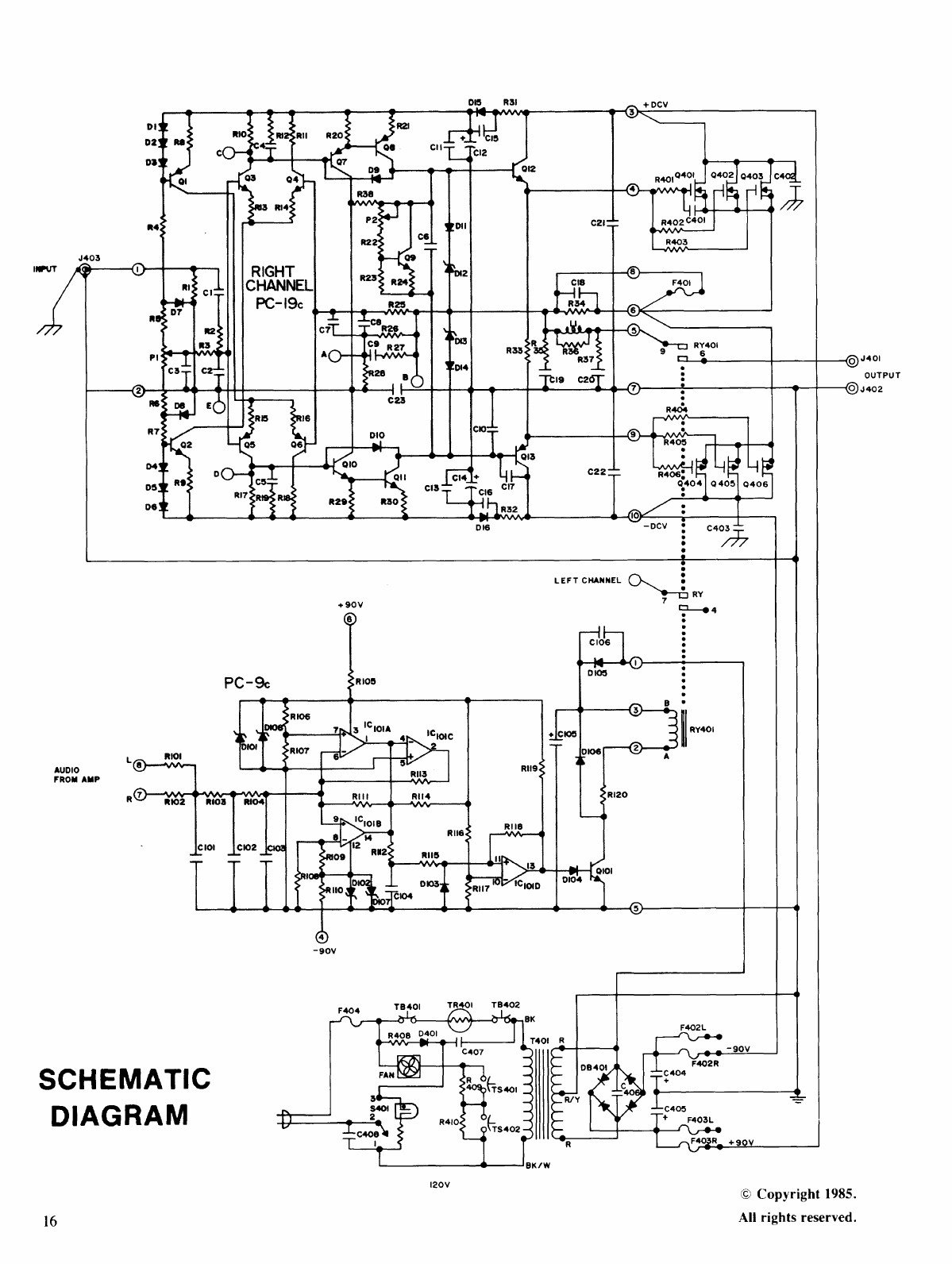 page 16 of hafler stereo amplifier dh