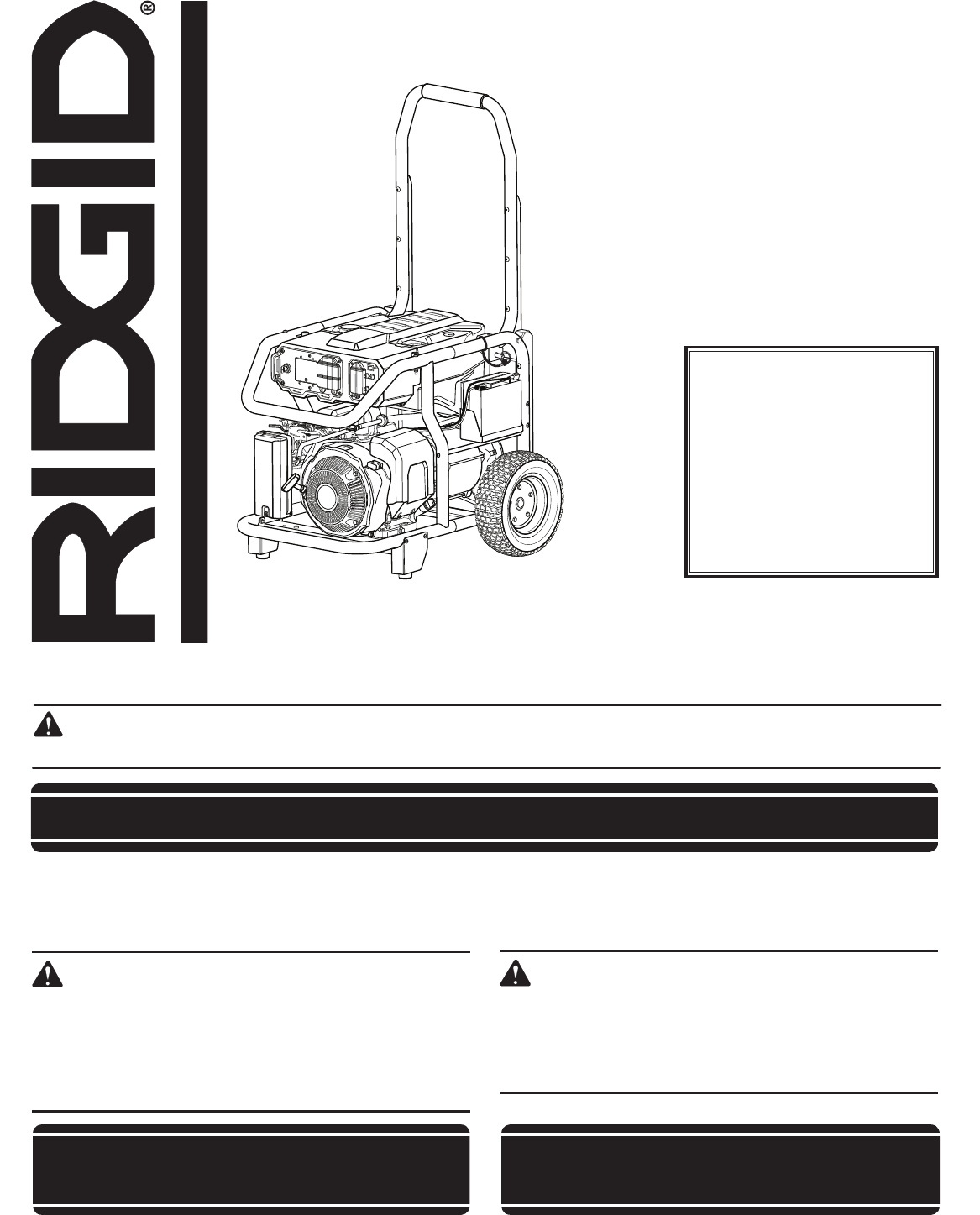 ridgid portable generator rd8000 user guide manualsonline com