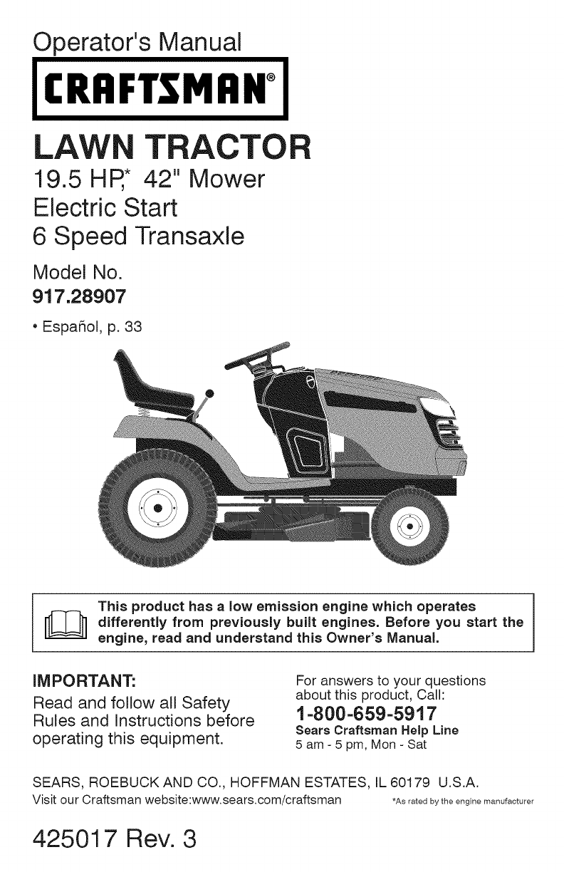 Craftsman Lawn Mower 917289071 User Guide ManualsOnlinecom