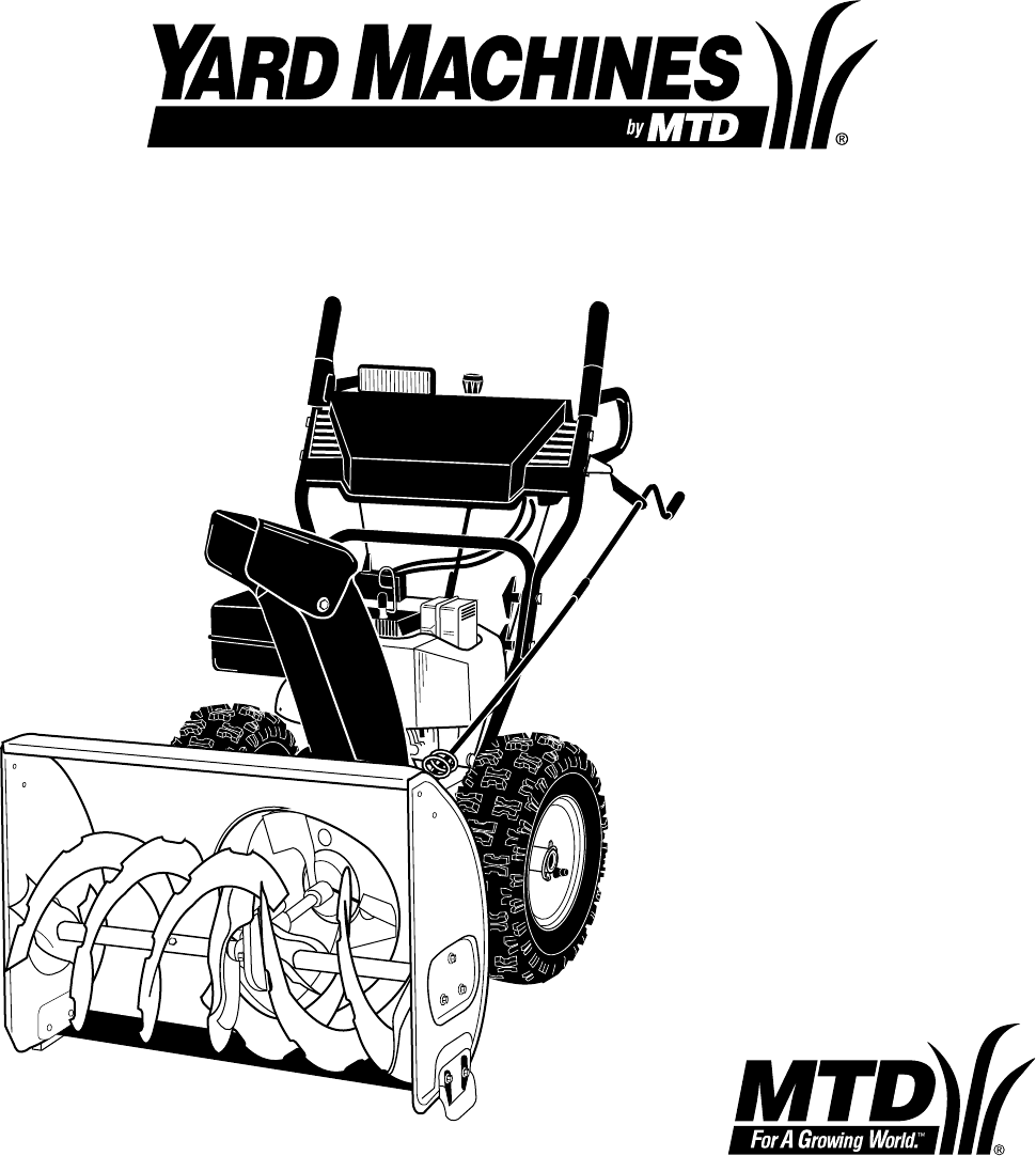 yard machine 179cc snowblower owners manual