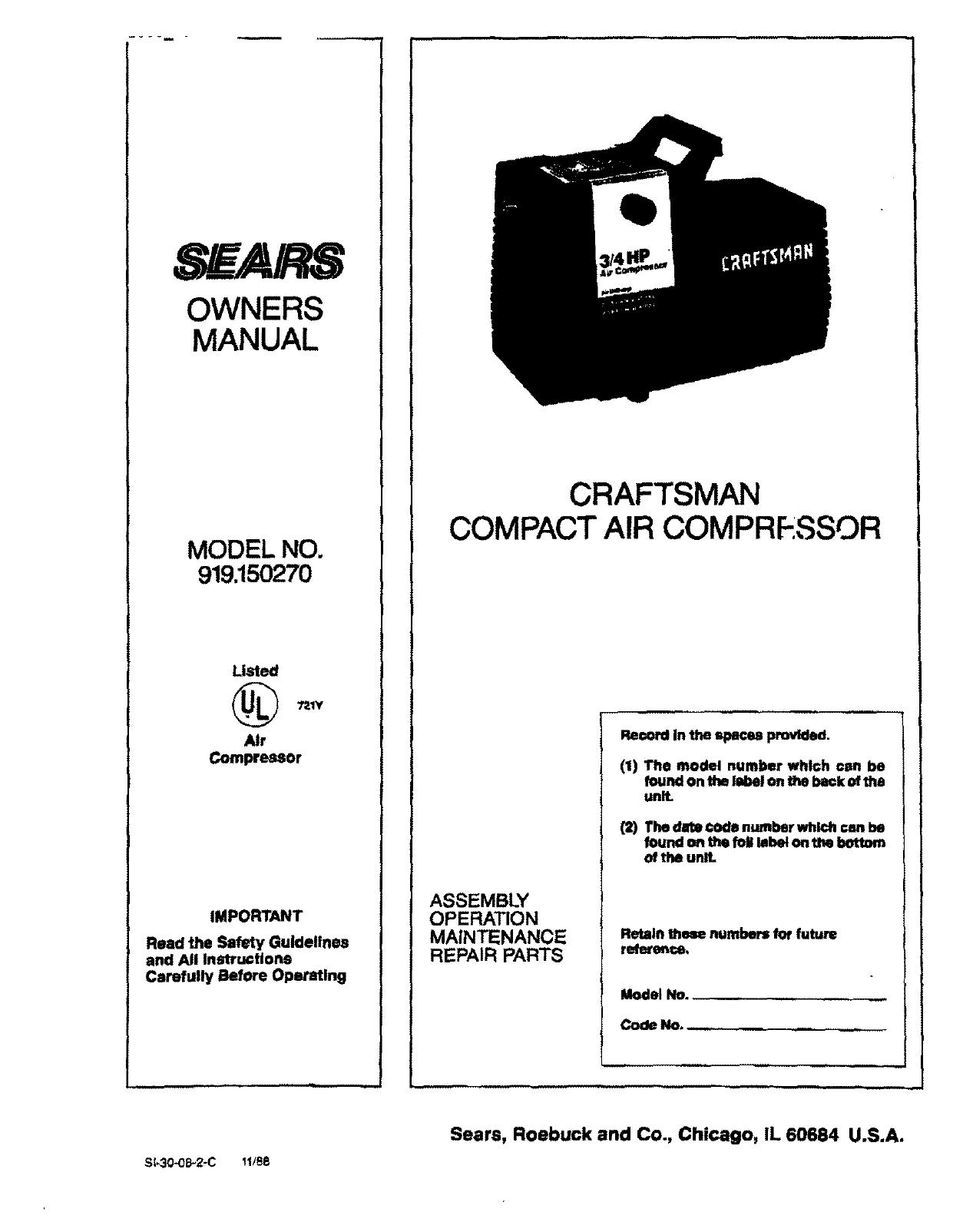 Sears Air Compressor 919 User Guide Manualsonline Com