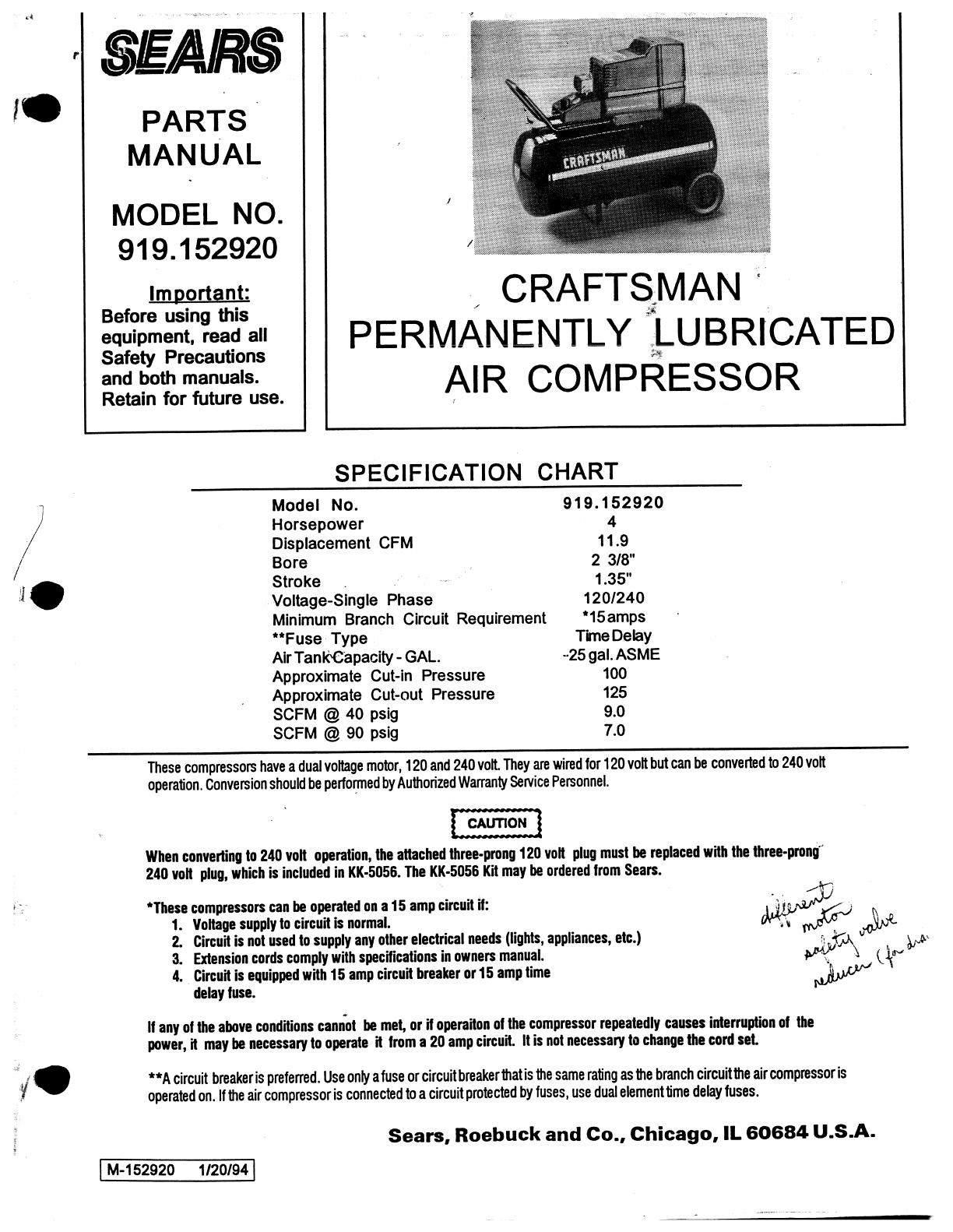 sears air compressor 919152920 user guide manualsonline com rh powertool manualsonline com Craftsman Snow Blower Manuals 24788190 0 Craftsman Snow Blower Parts Manuals