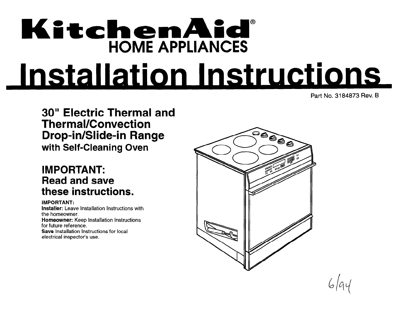 Kitchenaid Convection Oven 3184873 User Guide