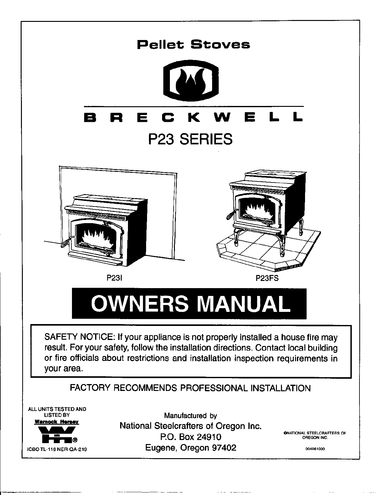breckwell stove p23fs user guide manualsonline com