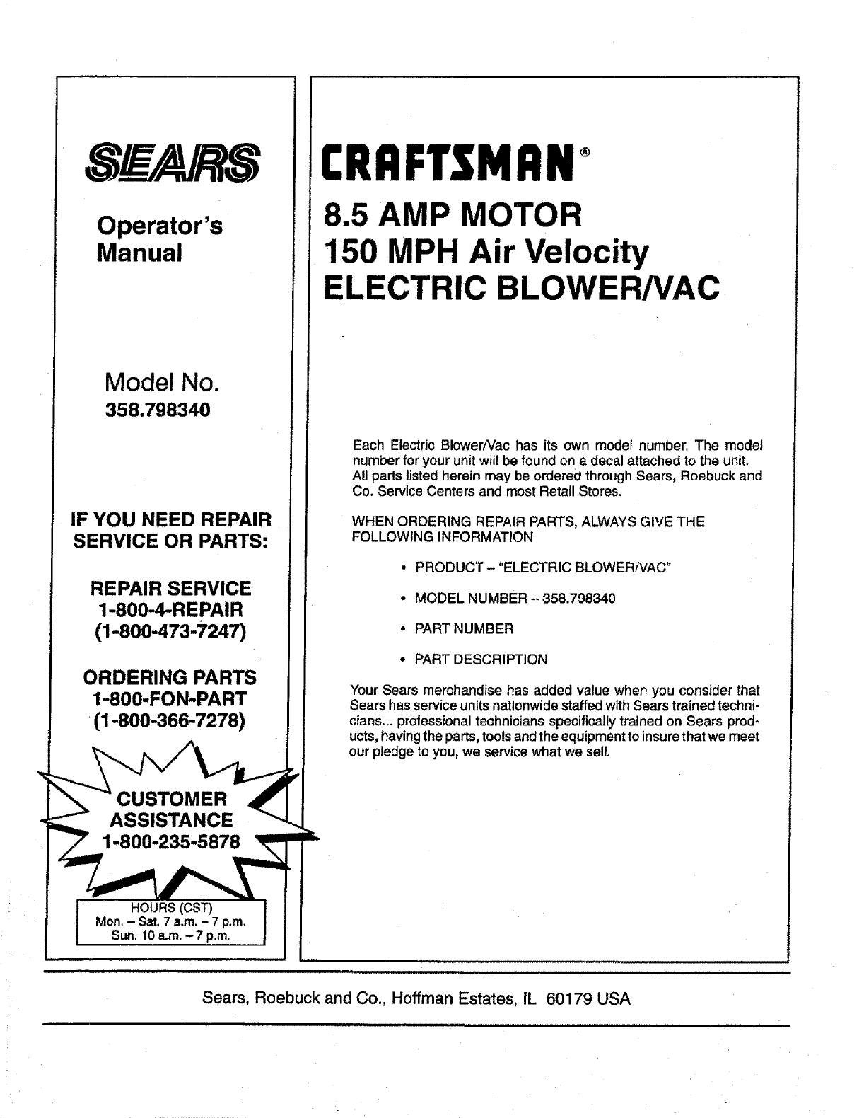 Page 16 Of Craftsman Blower 358 798340 User Guide