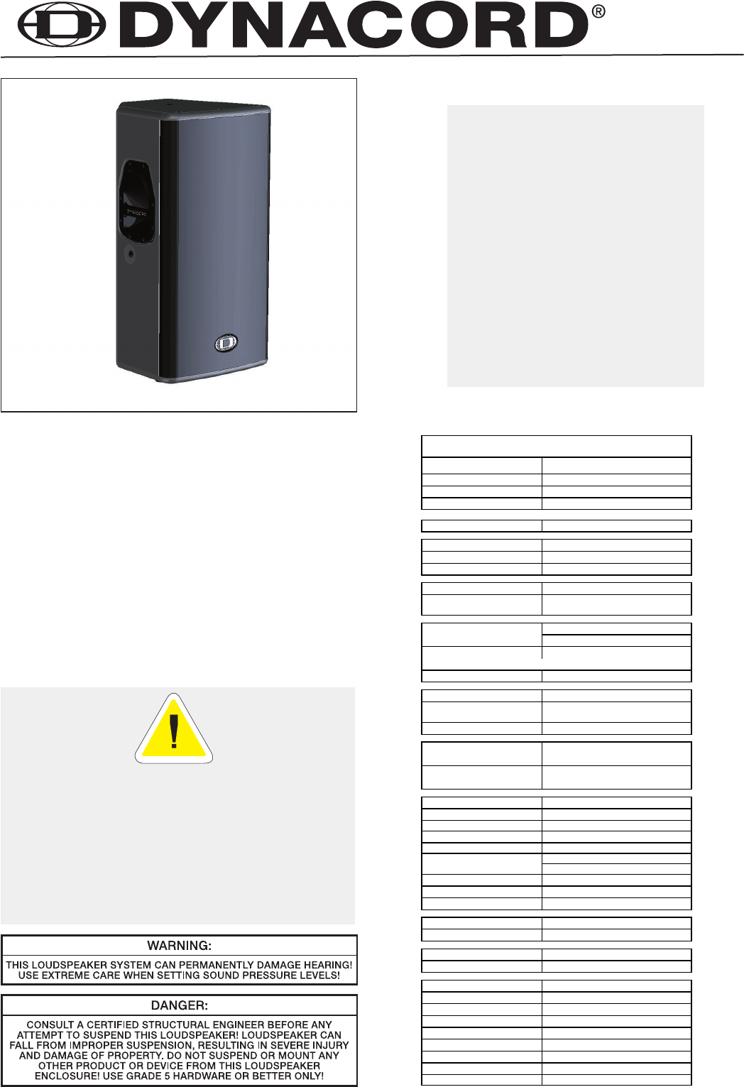 Dynacord Speaker System Vl 152 User Guide Manualsonline Com border=