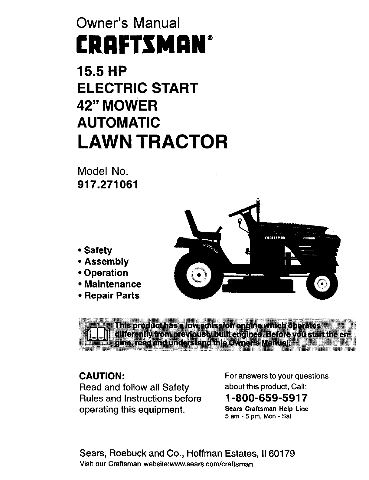 Craftsman lawn mower 917271061 user guide manualsonline sciox Image collections