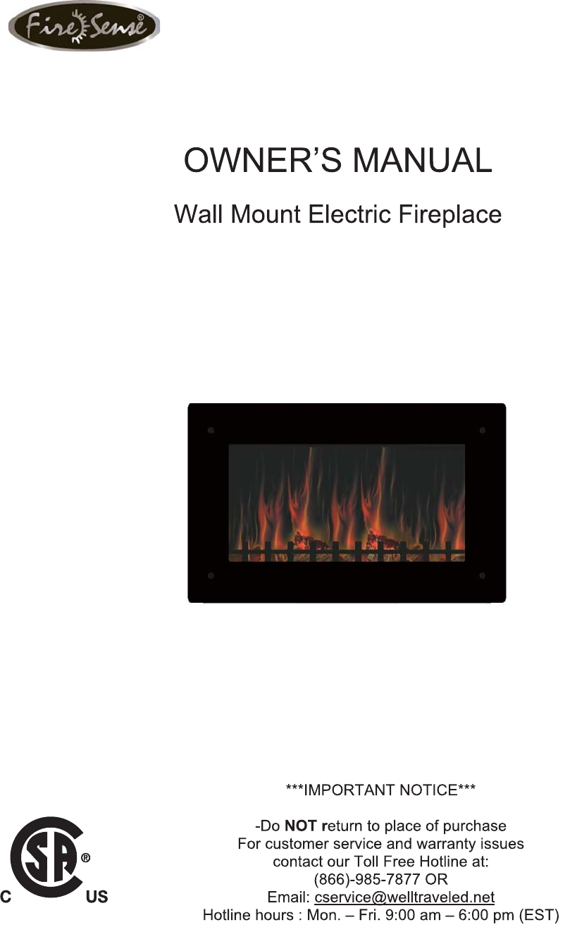 well traveled living indoor fireplace blt 999w 2 user guide