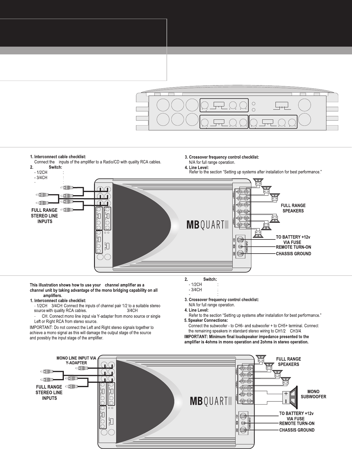 Page 8 Of Mb Quart Stereo Amplifier Nau460 User Guide Manualsonline Com