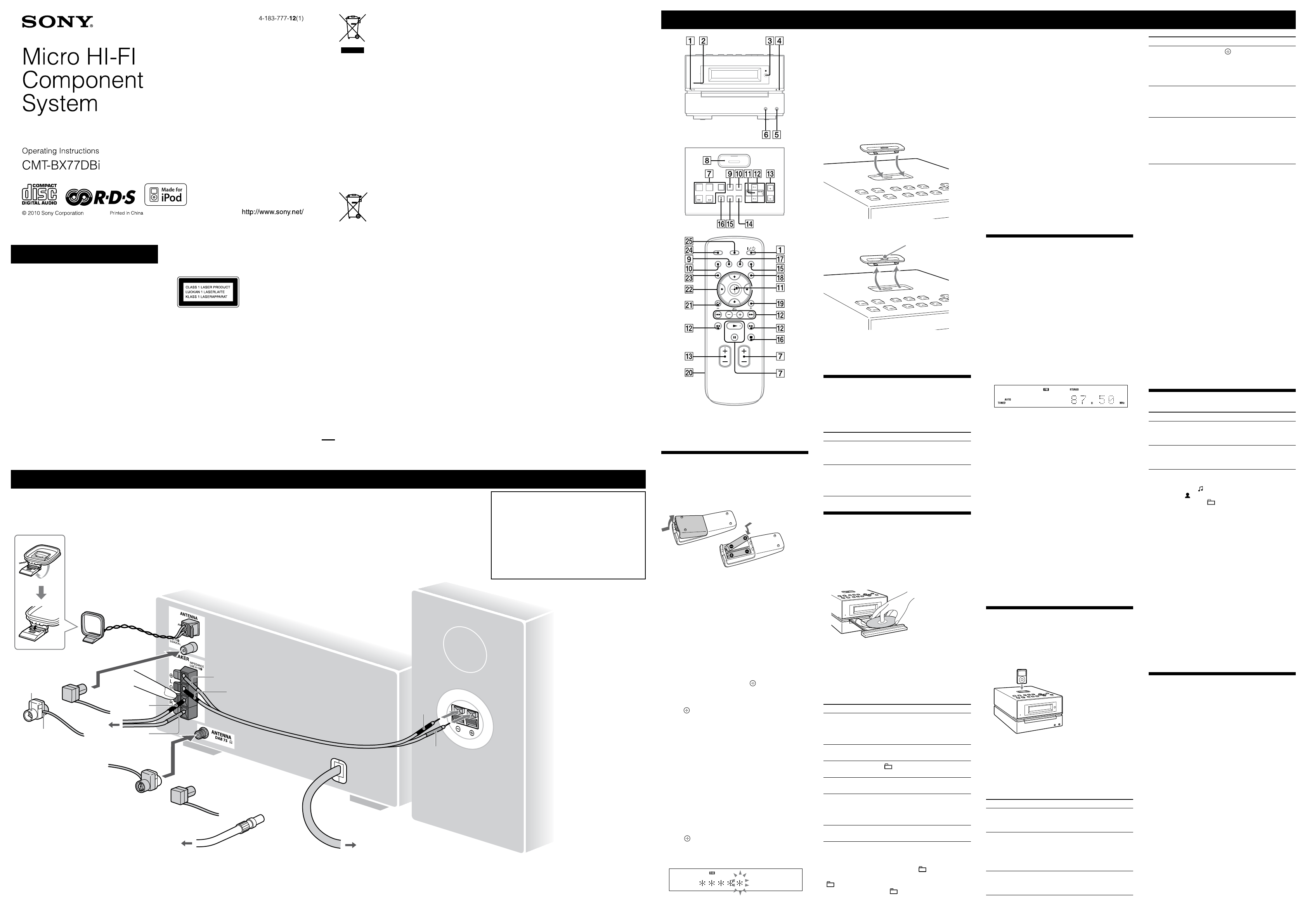 sony stereo system cmt bx77dbi user guide manualsonline com rh manualsonline com Sony CMT White 2004 Sony LX20I