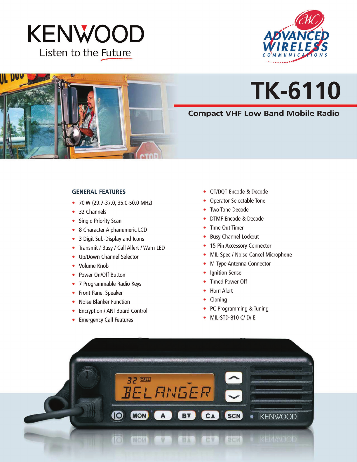 Advanced Wireless Solutions TK-6110 Portable Radio User Manual