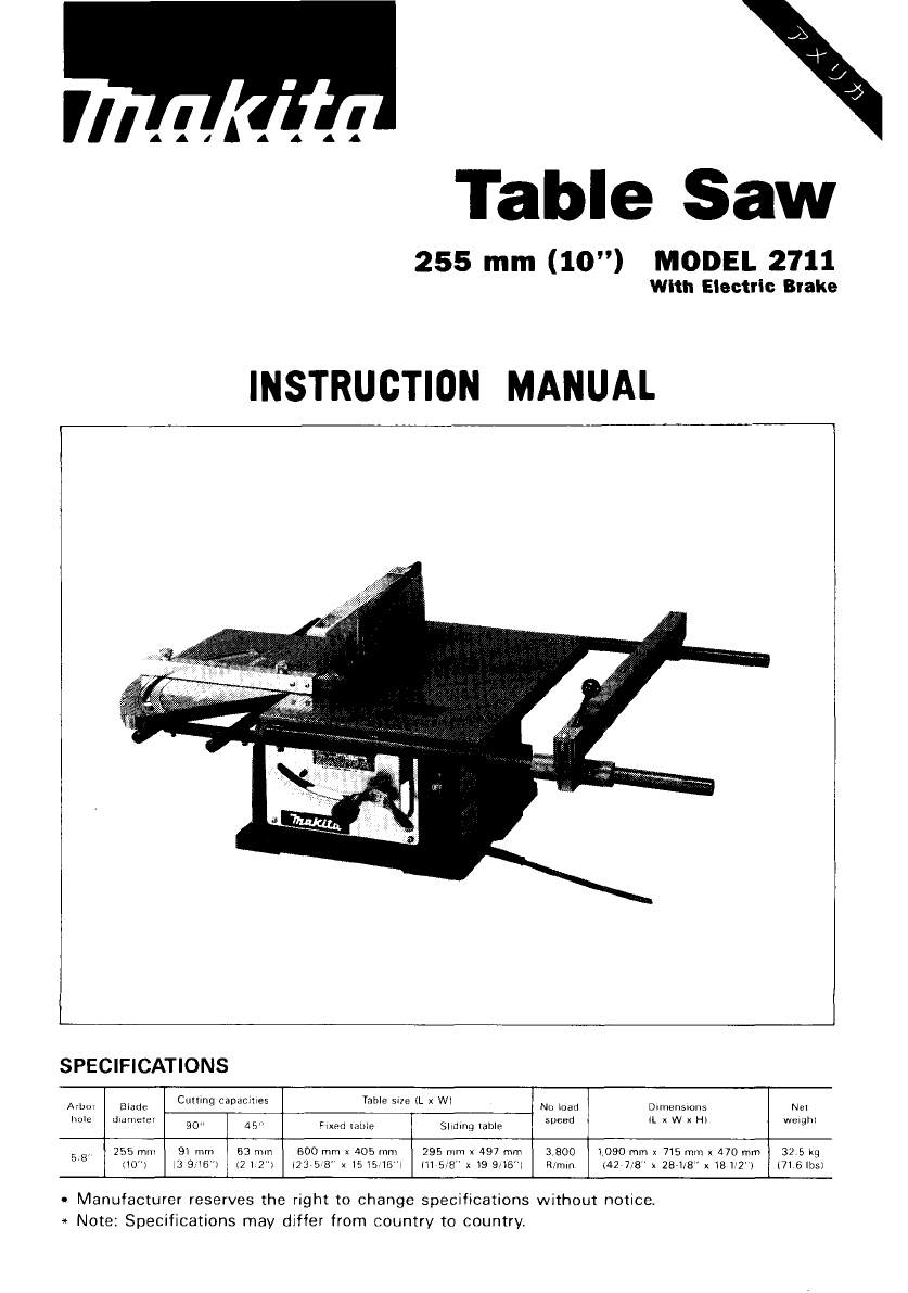 makita table saw 2705 manual
