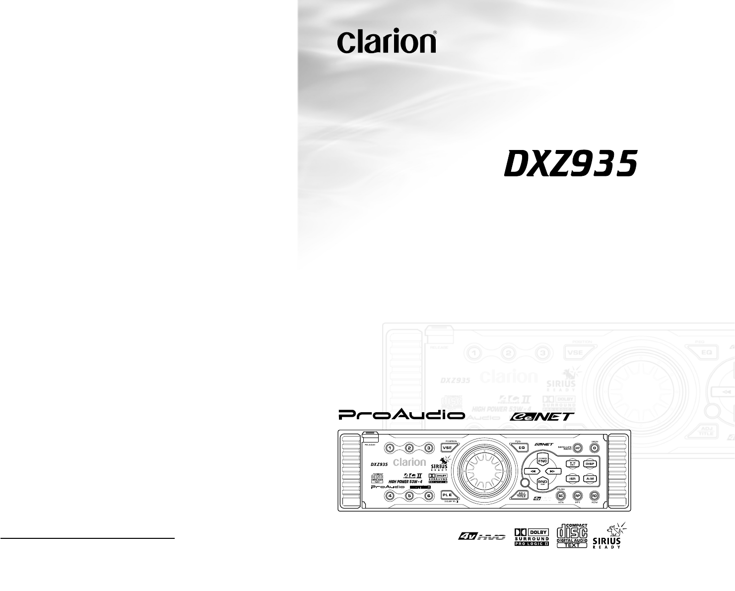 clarion cd player dxz935 user guide