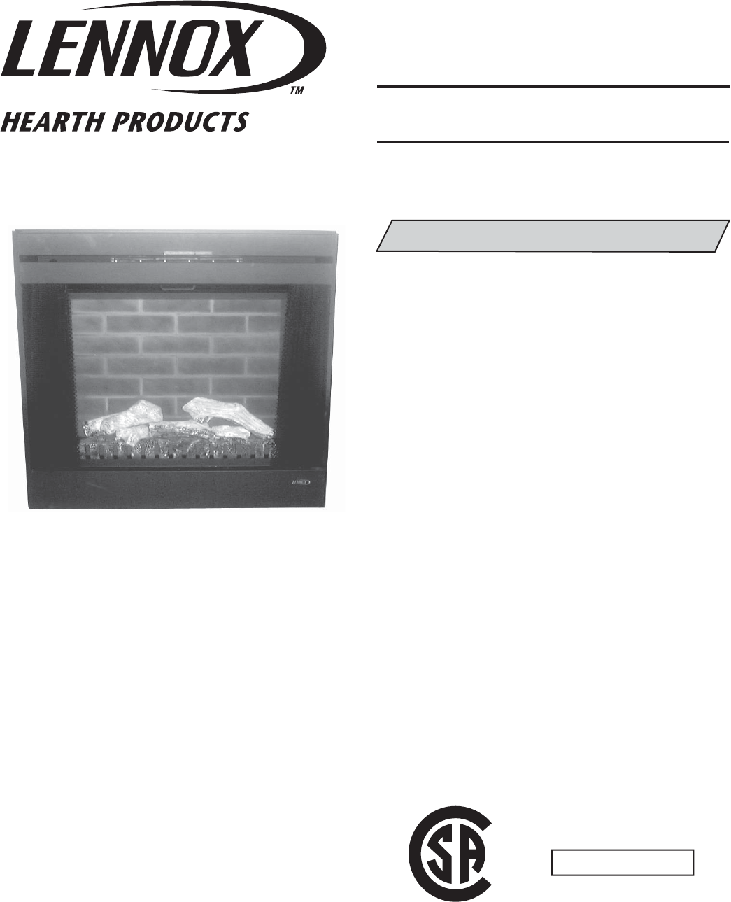Lennox Hearth Indoor Fireplace Mpe 33r User Guide