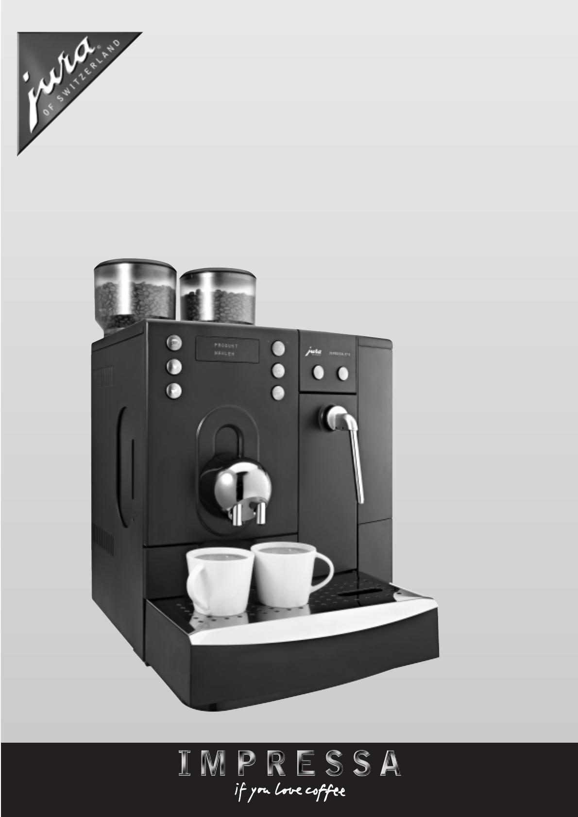 Jura Capresso Coffee Grinder IMPRESSA X7-S User Guide ManualsOnline.com