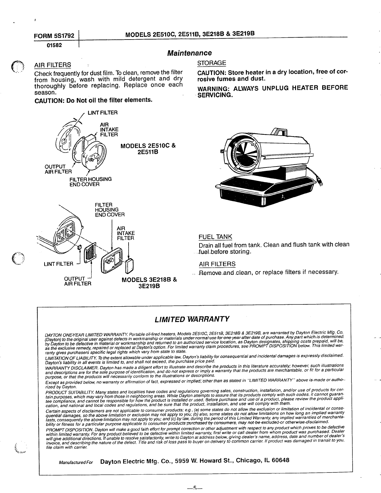 Page 5 Of Dayton Electric Heater 3e218b User Guide