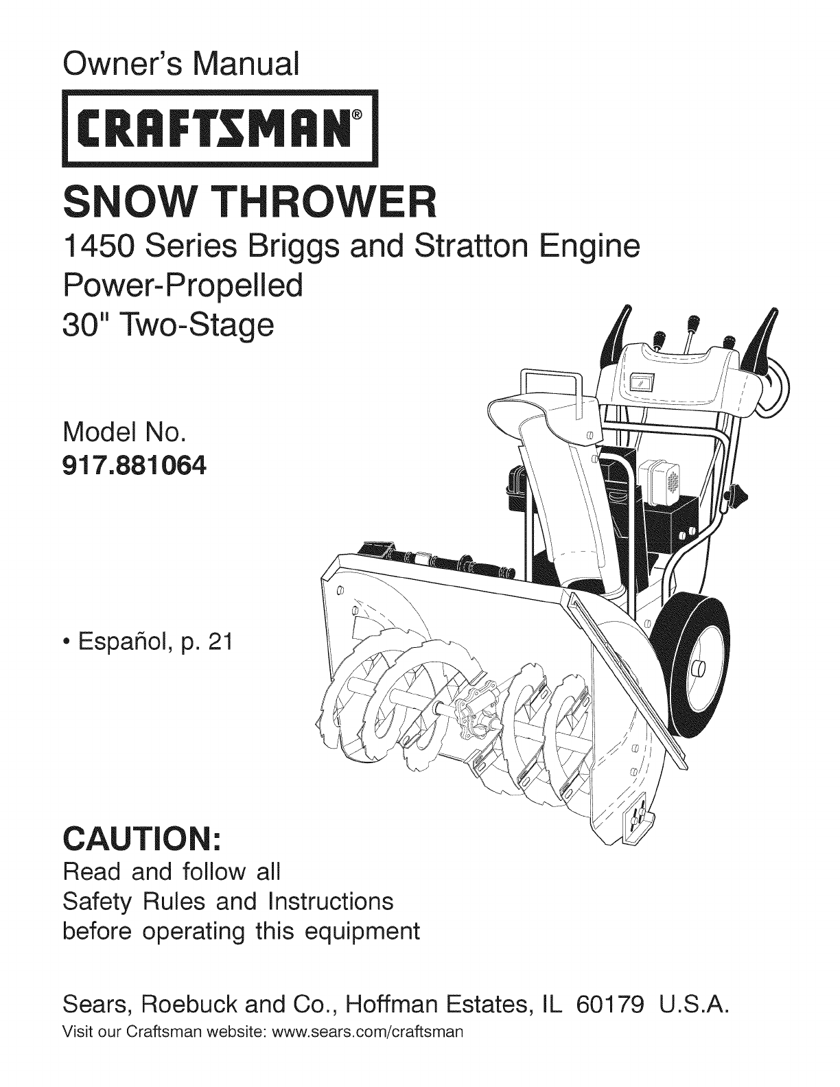 craftsman snow blower 917 881064 user guide manualsonline com rh kitchen manualsonline com Craftsman 22 Inch Snow Blower Manual craftsman snowblower manual