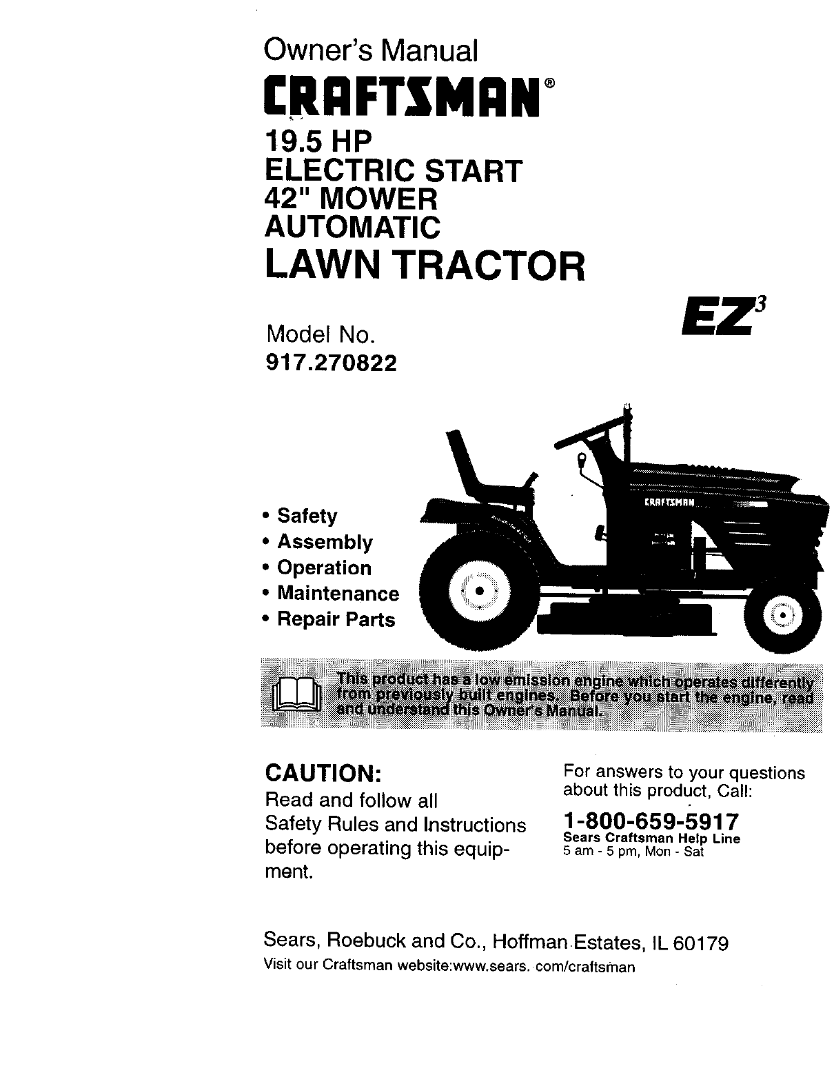 craftsman lawn mower 917 270822 user guide manualsonline com rh homeappliance manualsonline com Craftsman Instruction Manual Owner S Manual Craftsman 917