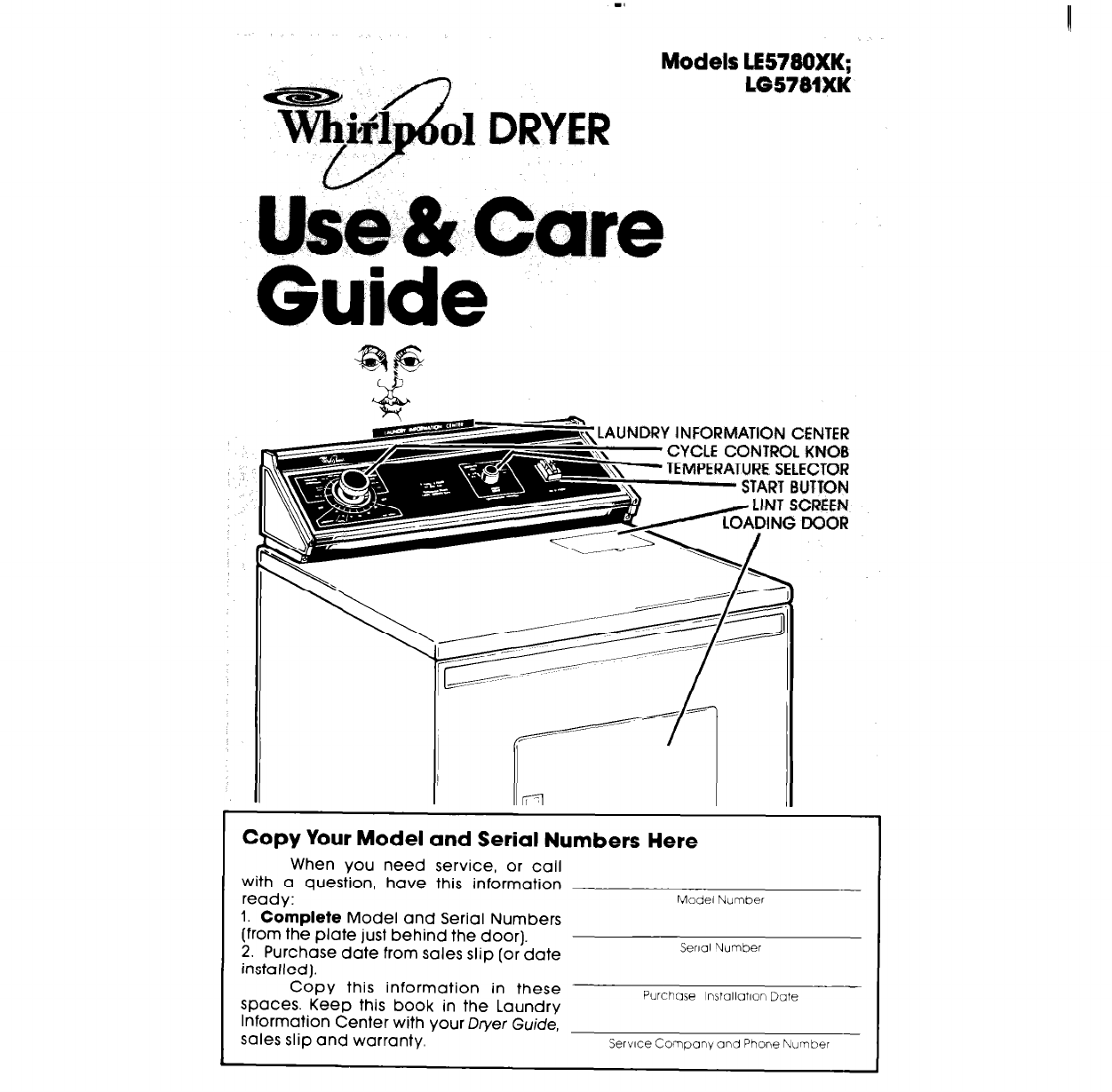 Whirlpool Clothes Dryer Le5780xk User Guide border=