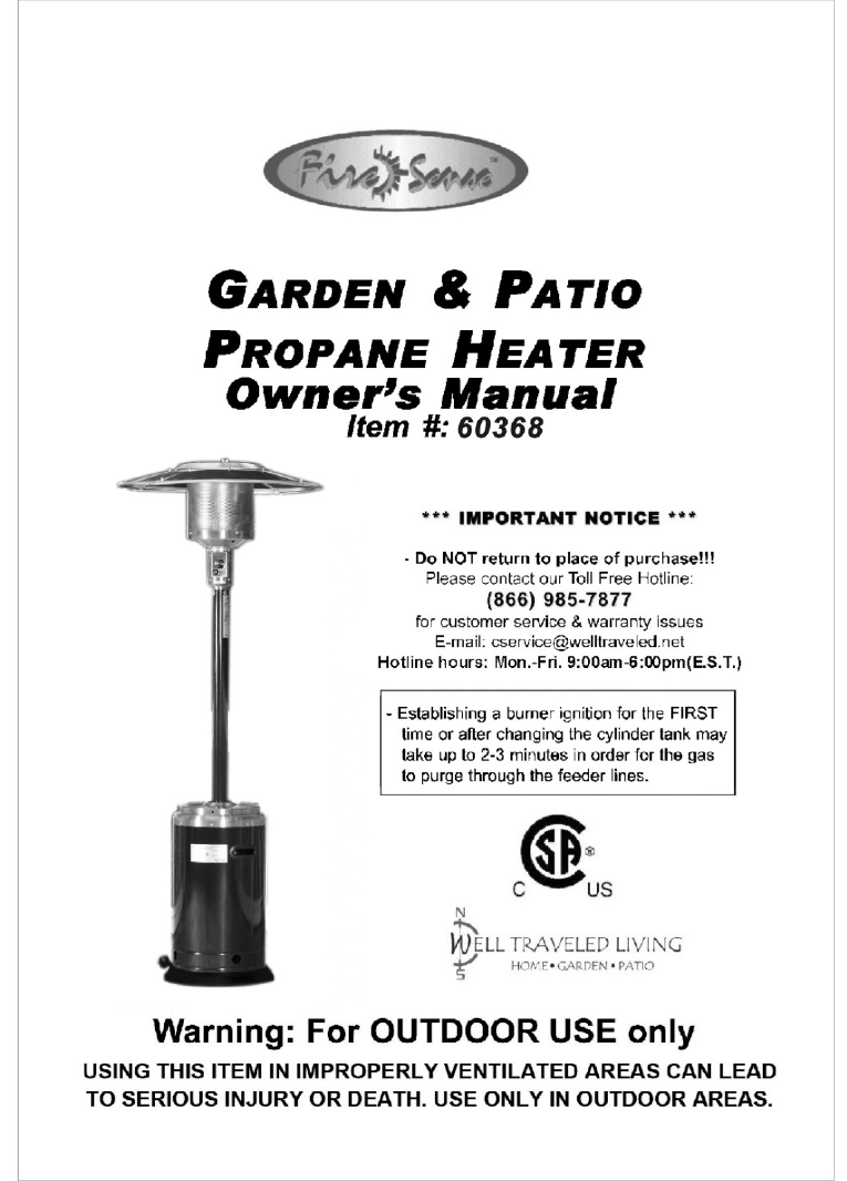 Well Traveled Living Patio Heater 60368 User Guide
