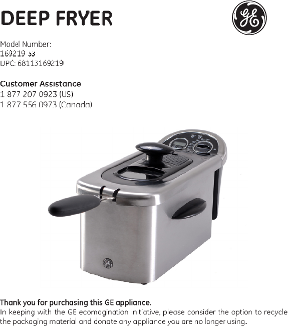 ge fryer 169219 user guide manualsonline com rh tv manualsonline com GE Fryer Model 168997 ge 12 cup deep fryer manual