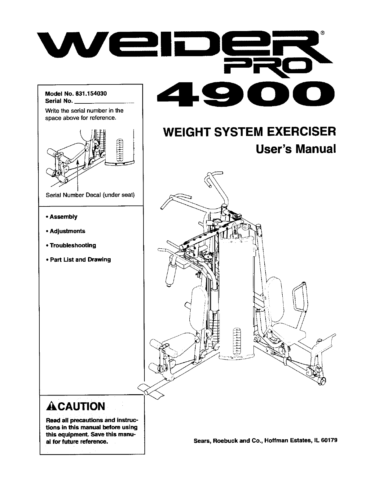 sears fitness equipment 831 15403 user guide