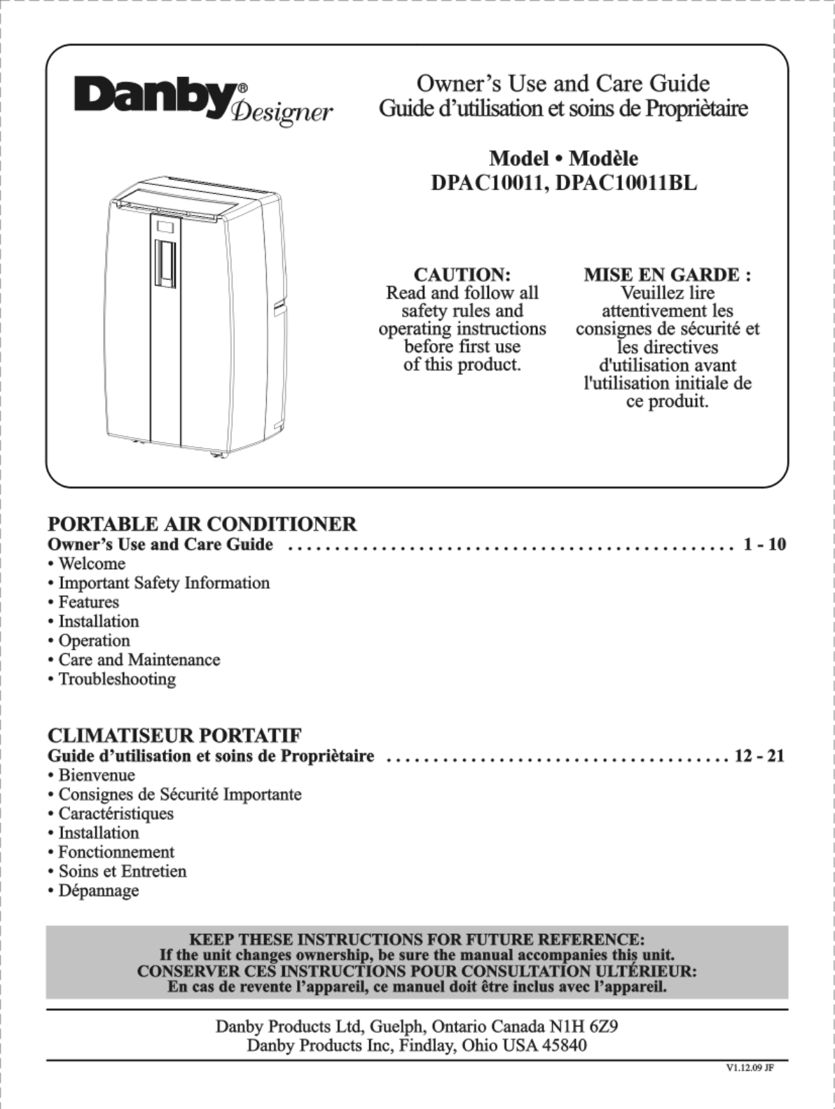 danby air conditioner dpac10011 user guide manualsonline com