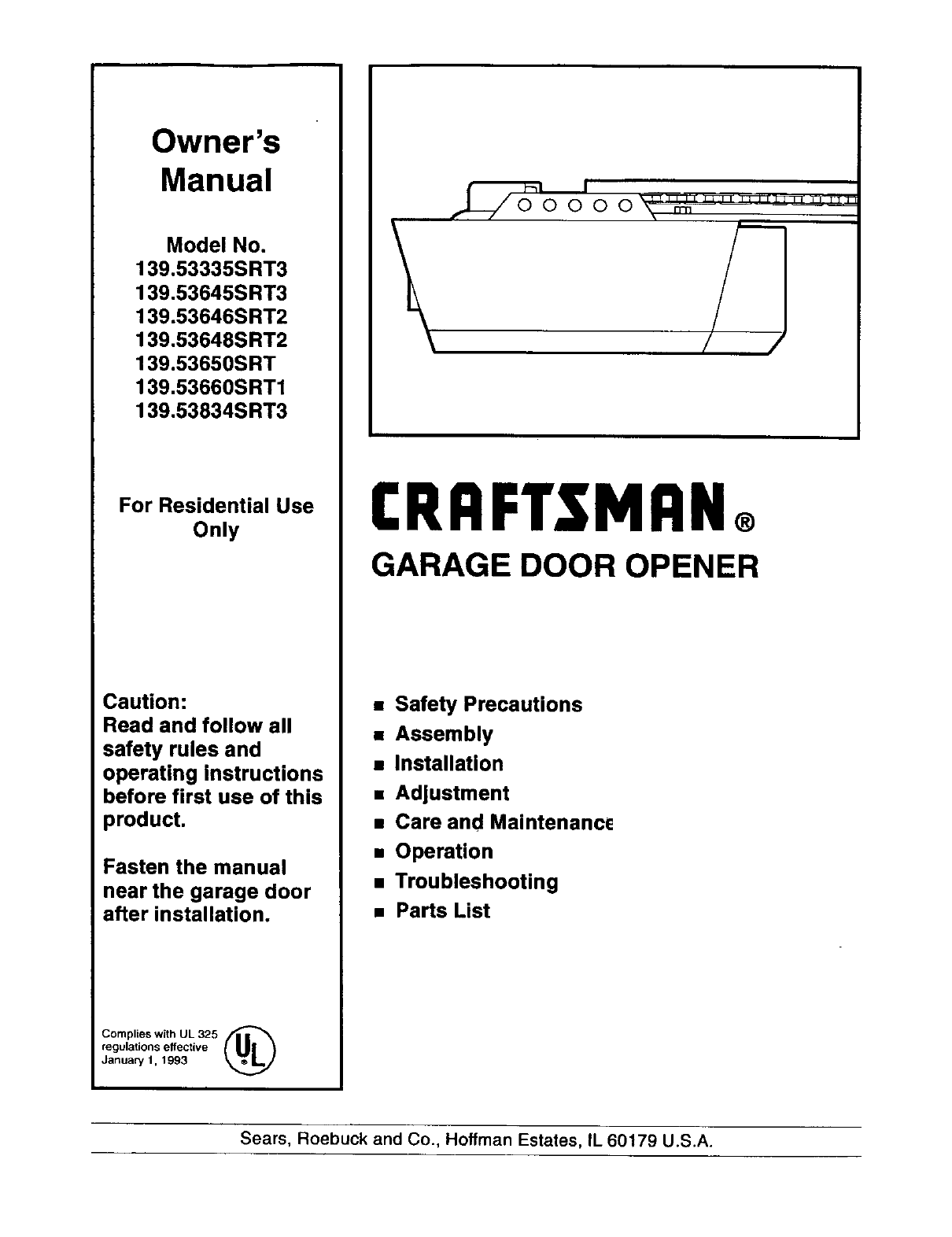 craftsman garage door opener user guide
