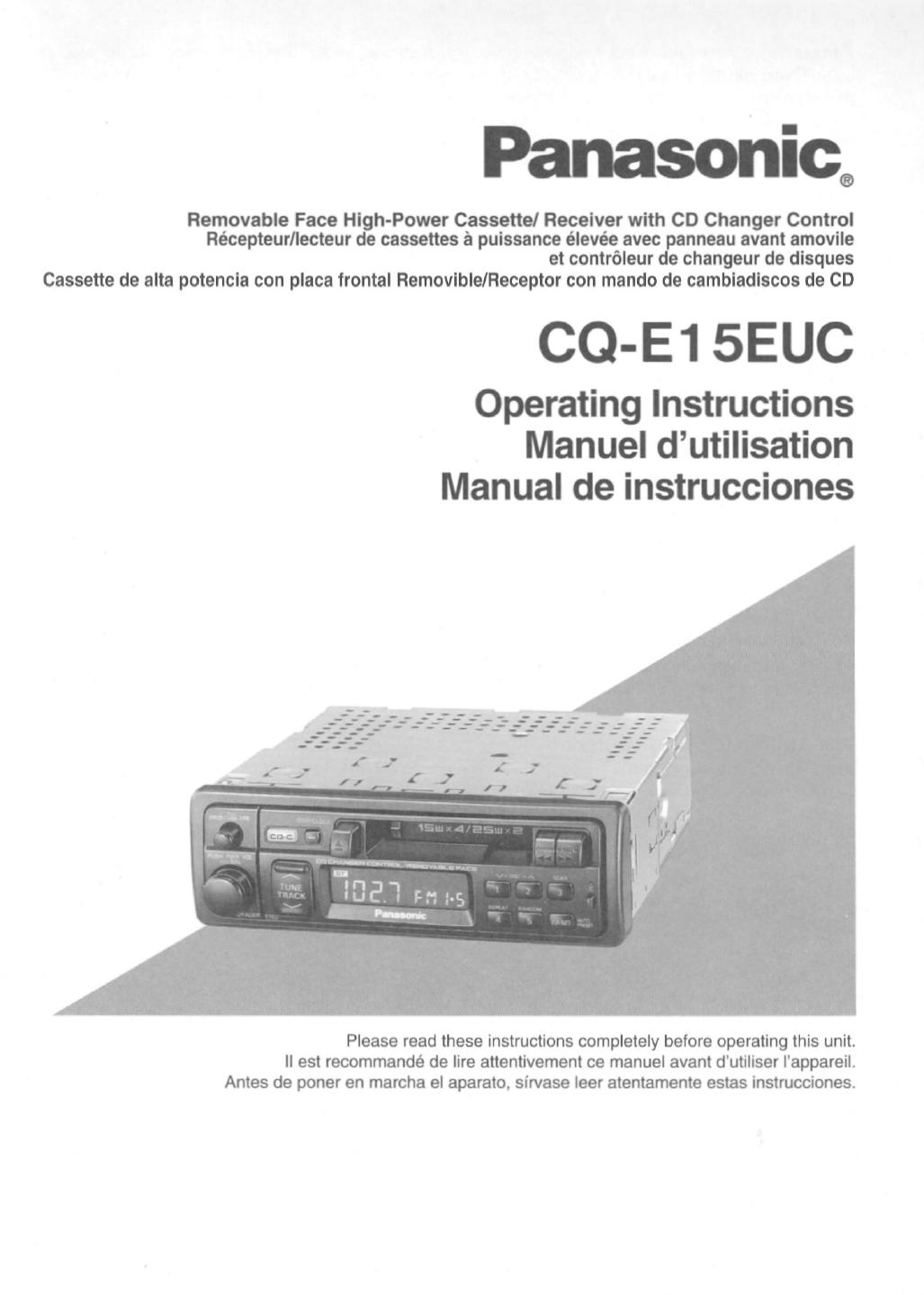panasonic car video system cqe15euc user guide manualsonline com rh caraudio manualsonline com panasonic 5 cd changer stereo system manual panasonic 5 cd changer manual